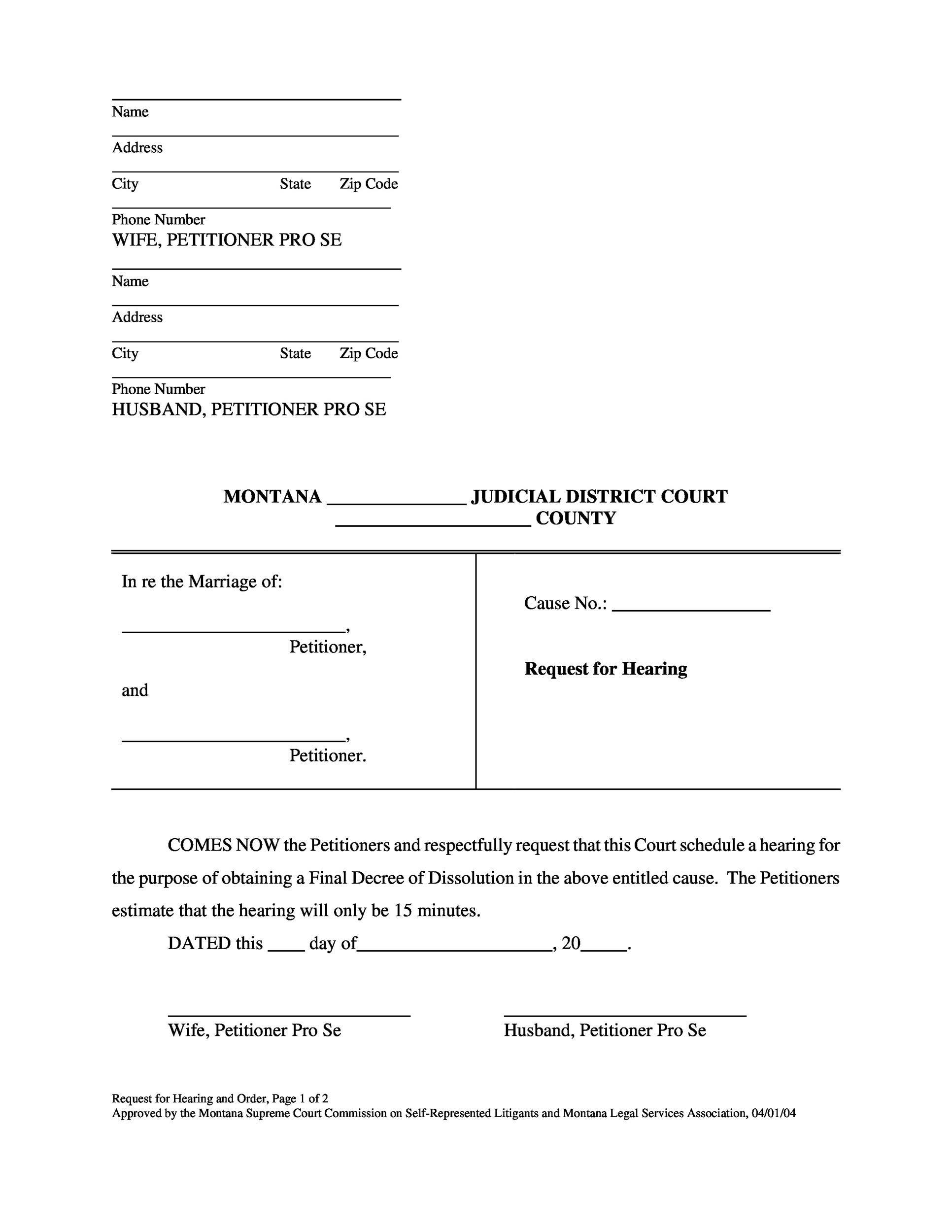 free divorce paper template