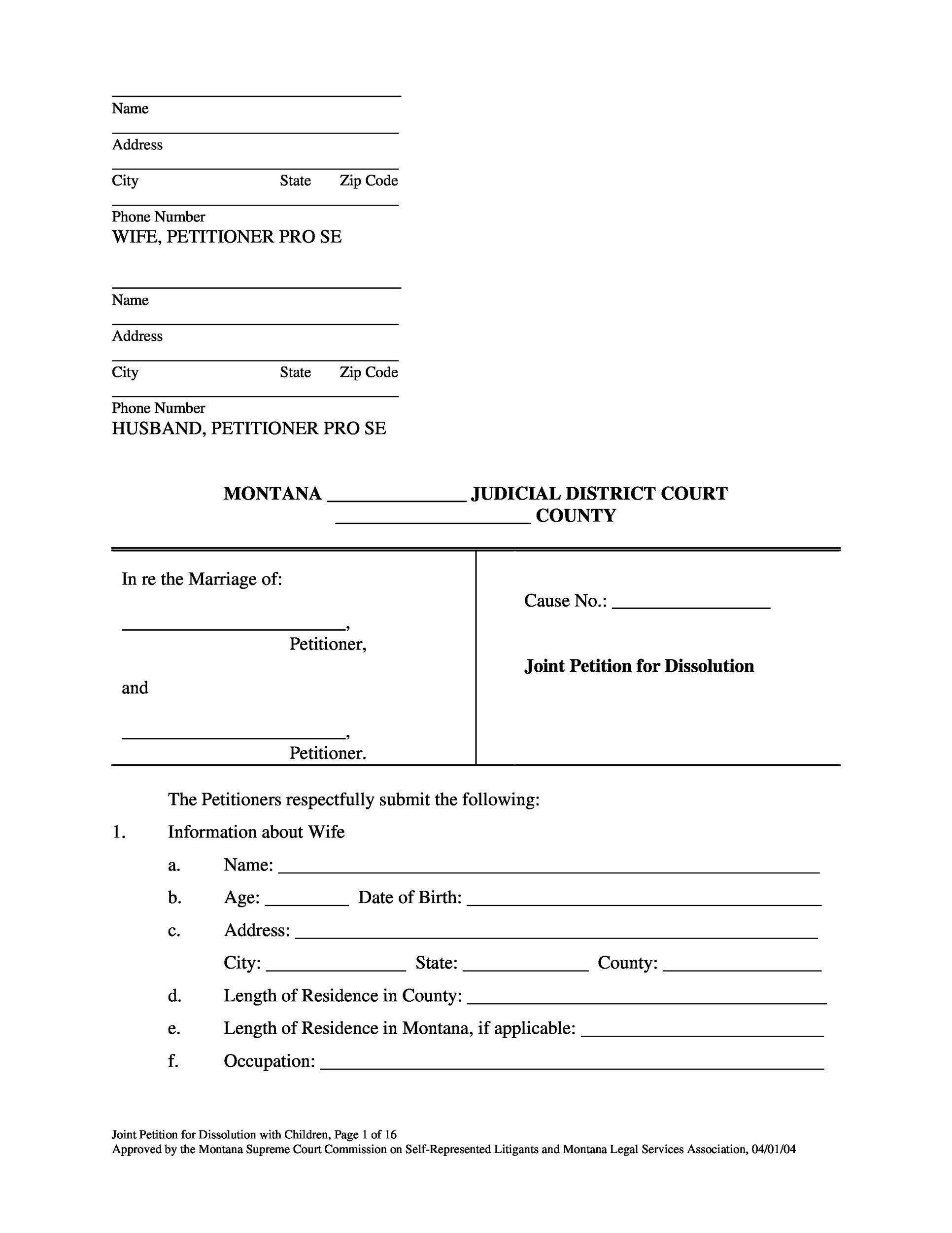 Free Divorce Papers Template 22