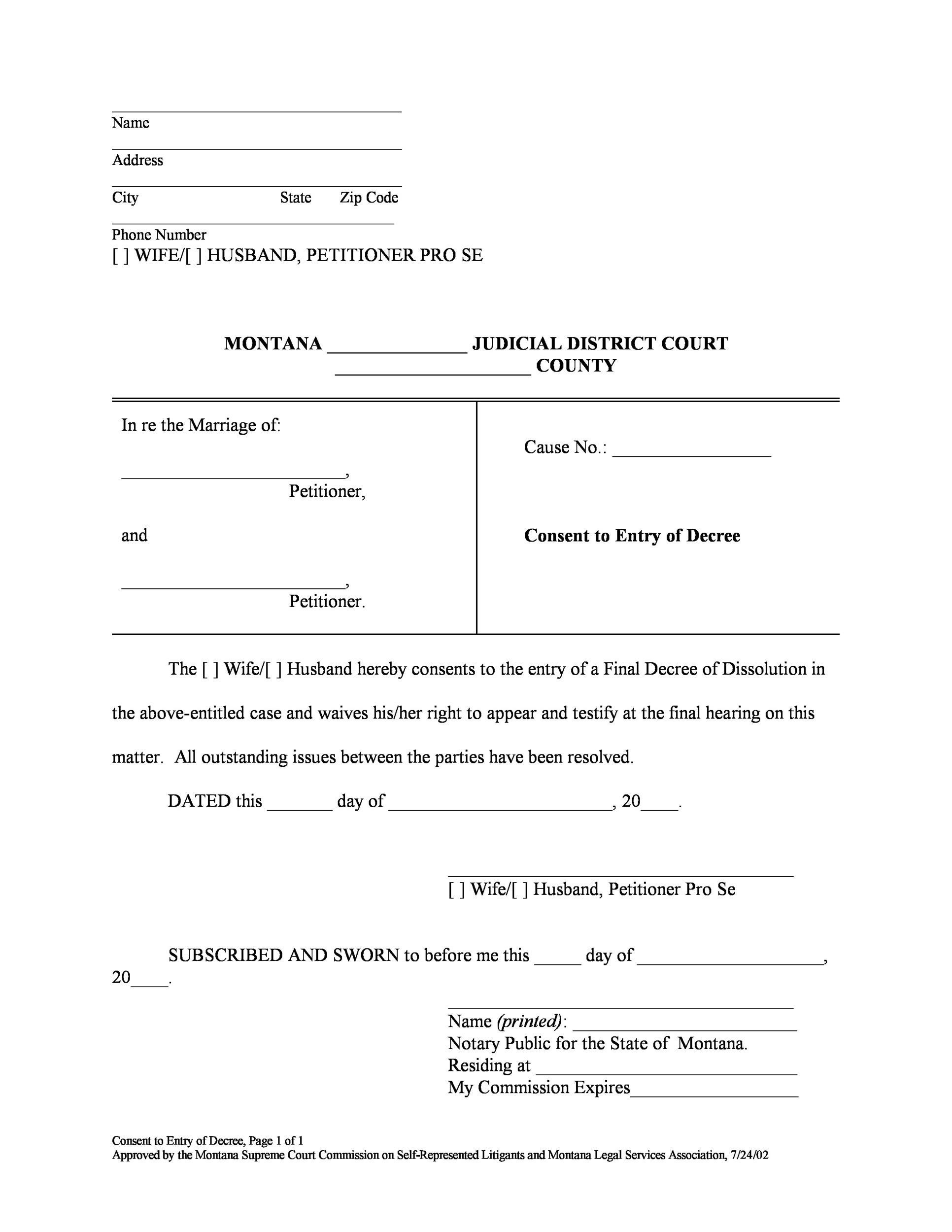 Free Divorce Papers Template 23
