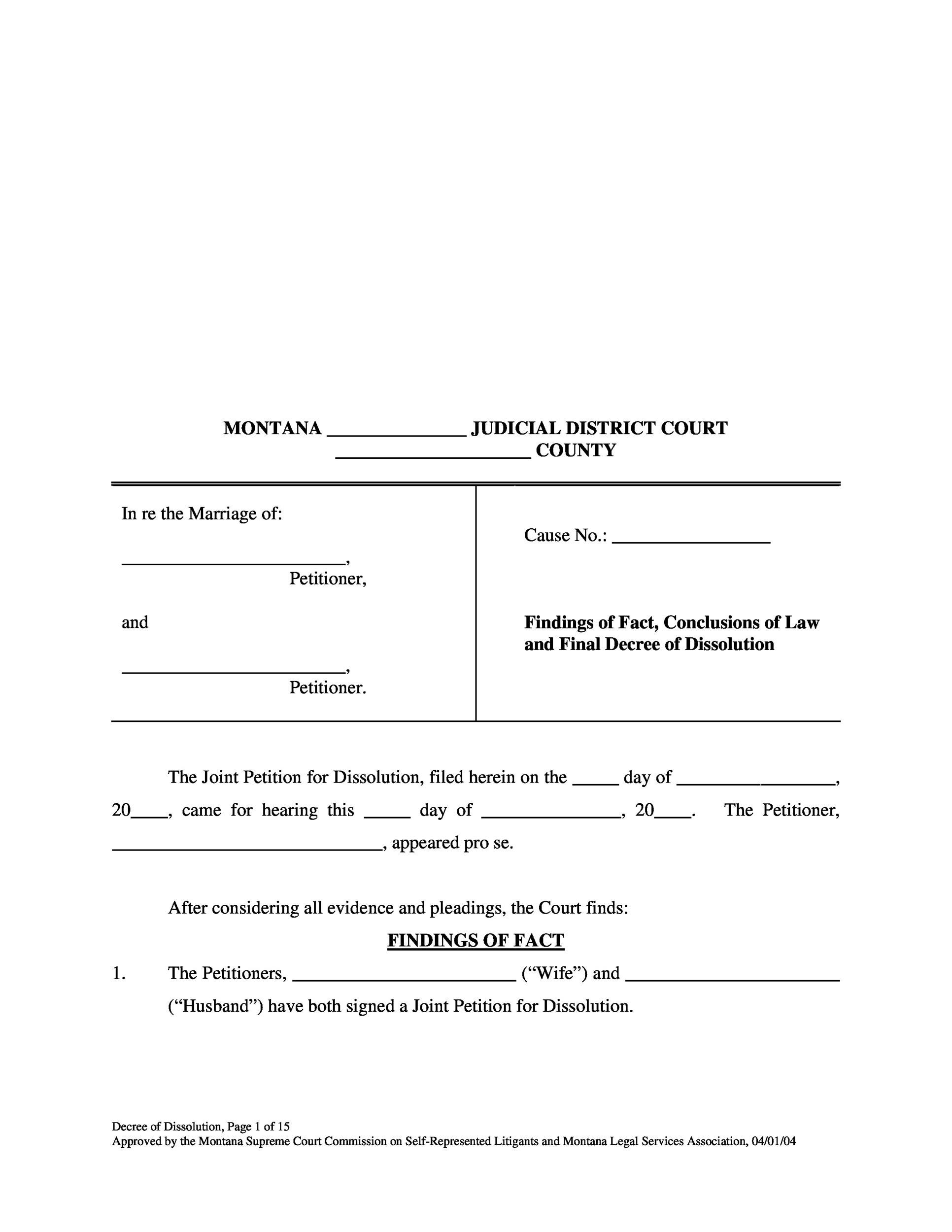Free Divorce Papers Template 25
