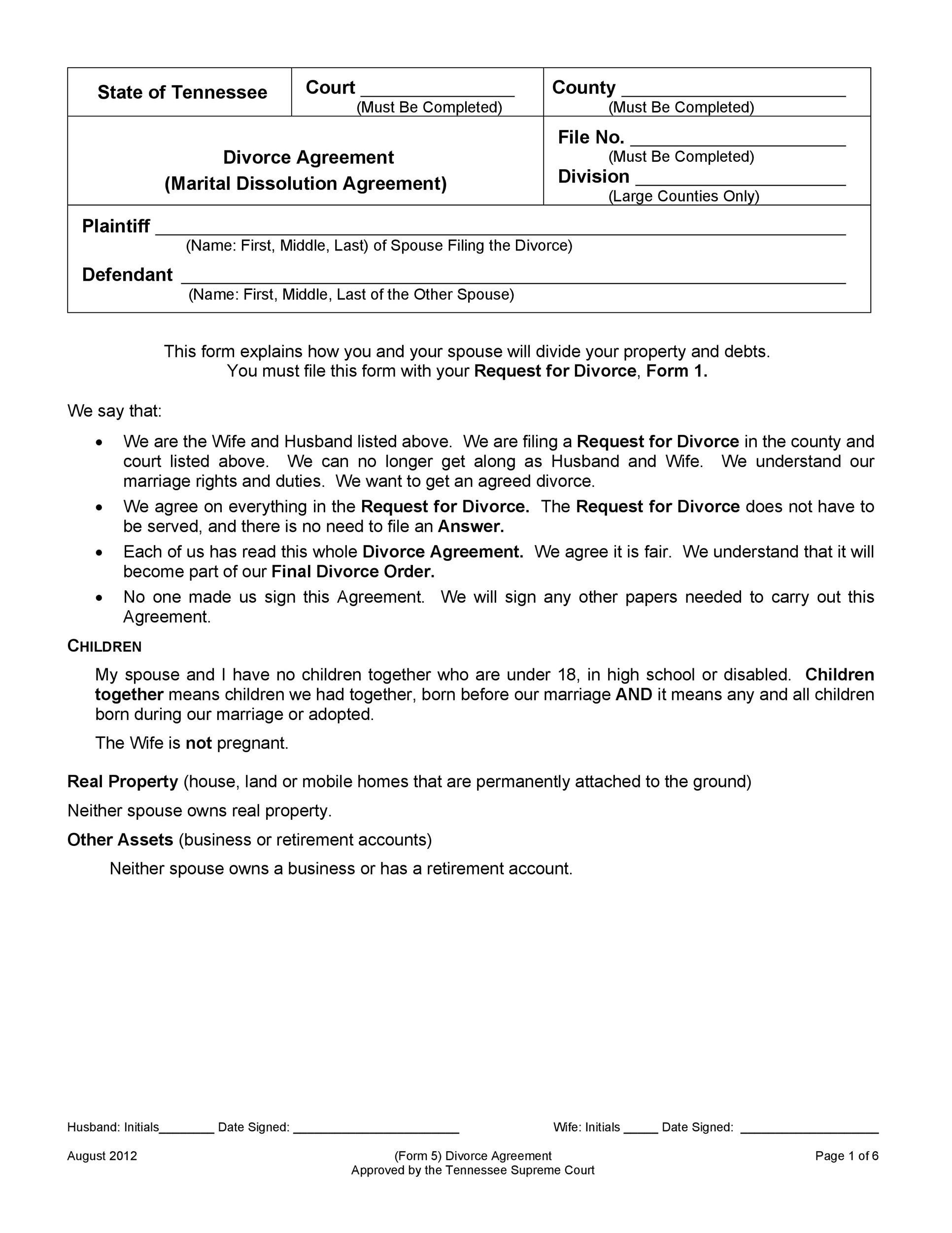 divorce agreement example