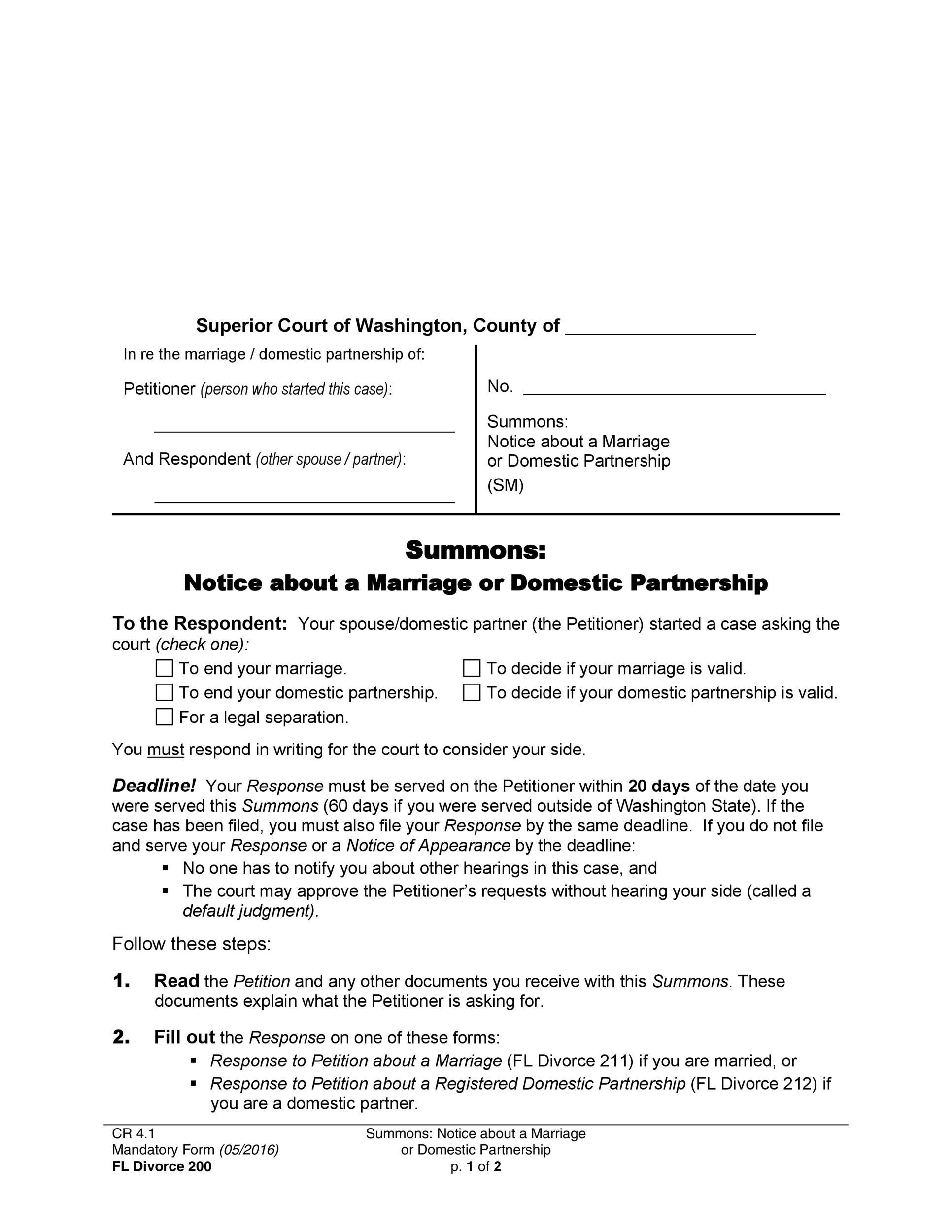 40 Free Divorce Papers (Printable) ᐅ Template Lab