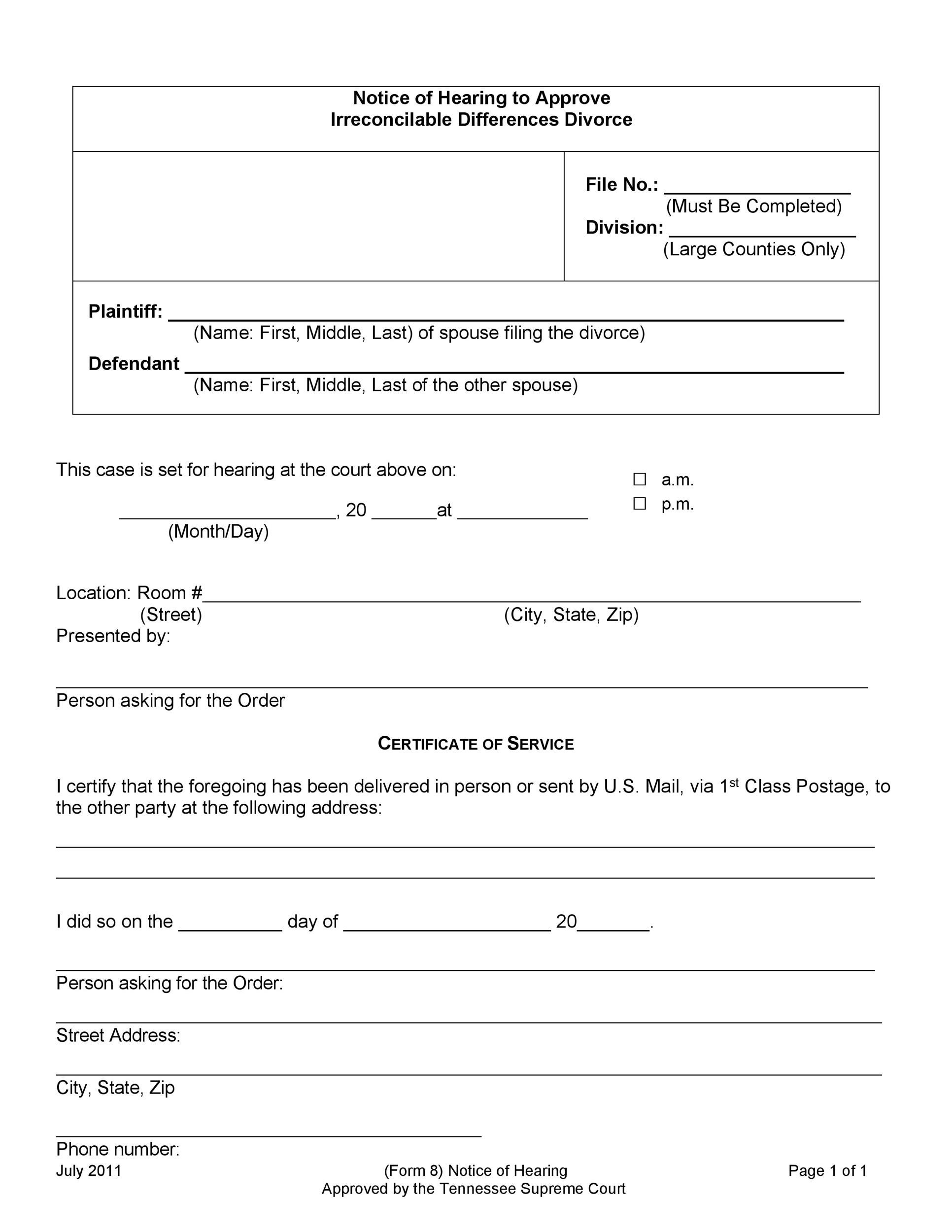 Printable Divorce Papers Template 34  Examples Of Divorce Papers