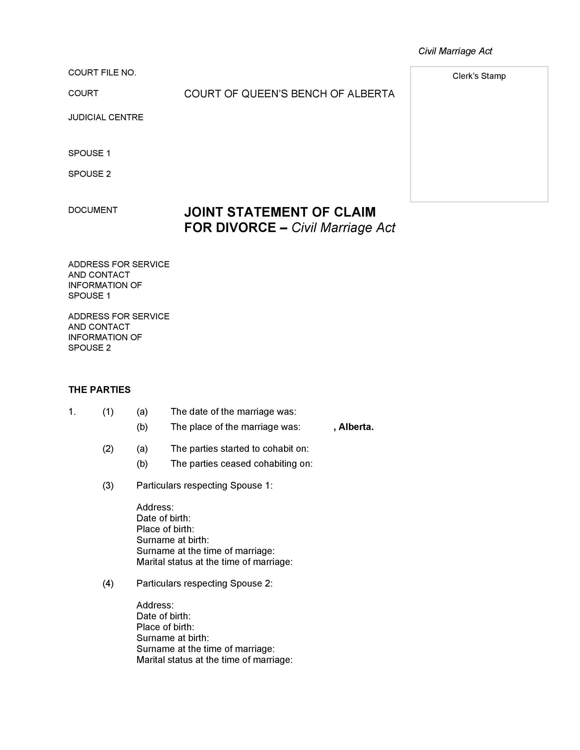Free Divorce Papers Template 35