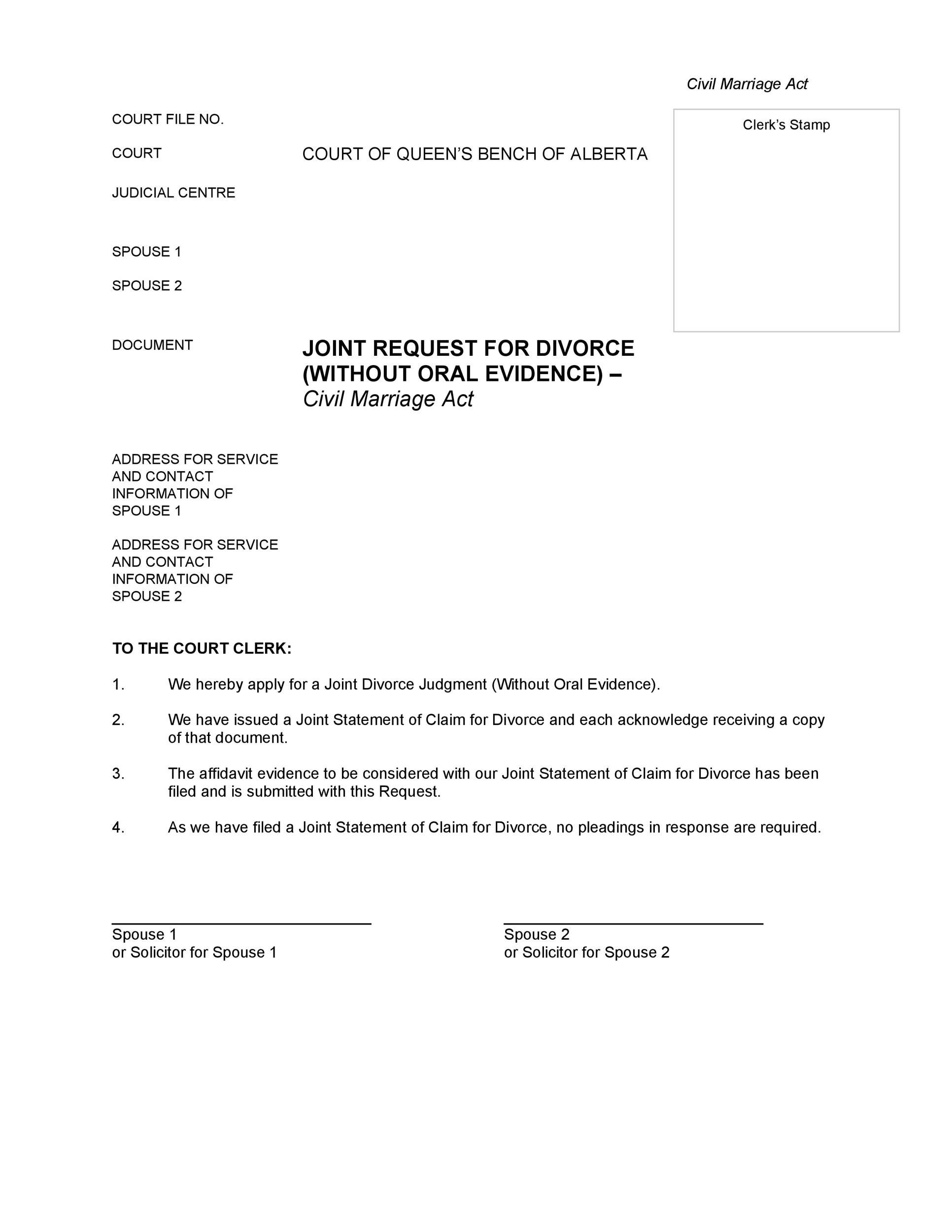 Free Divorce Papers Template 36