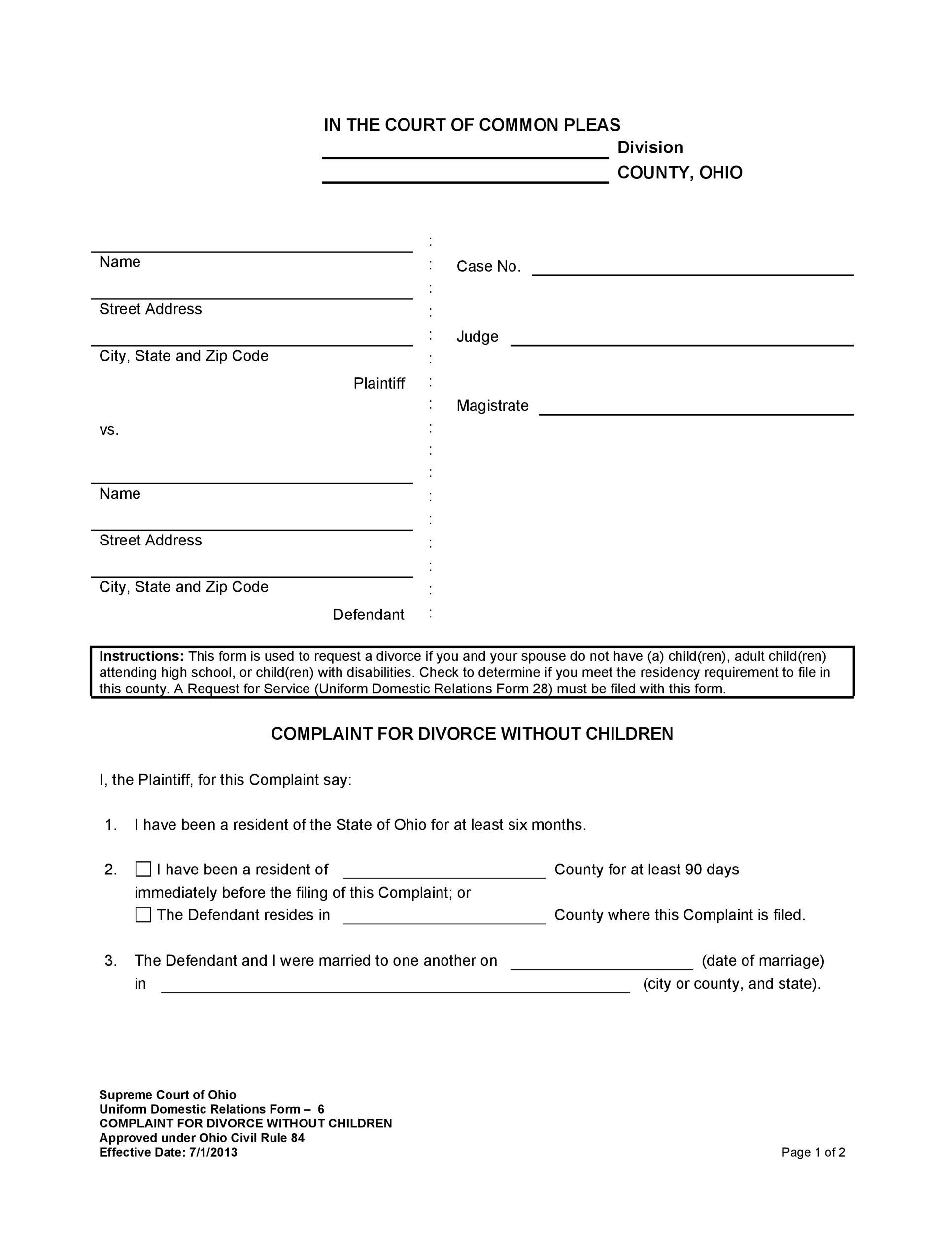 Free Divorce Papers Template 37
