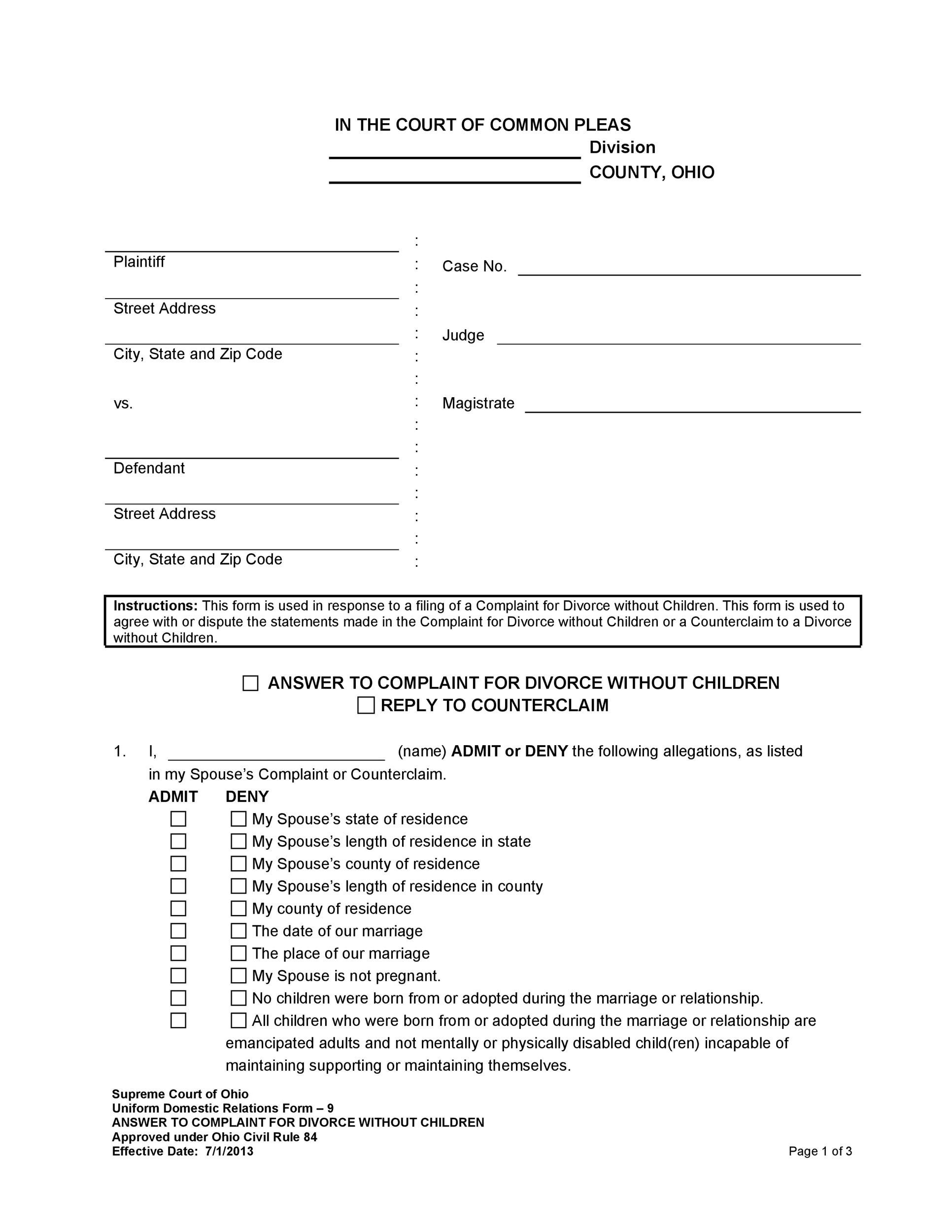 Free Divorce Papers Template 38