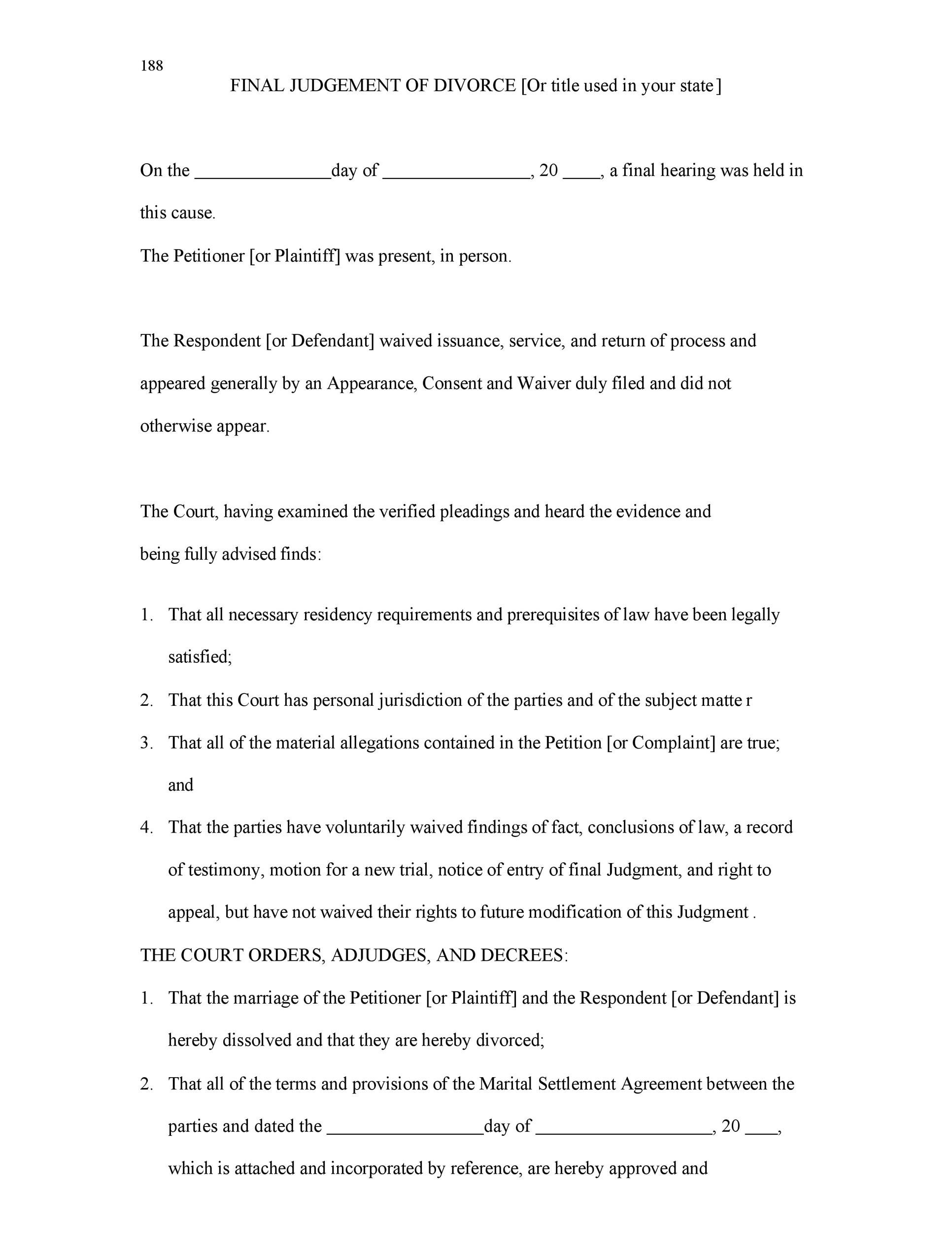 Printable Divorce Papers Template 40  Example Of Divorce Papers