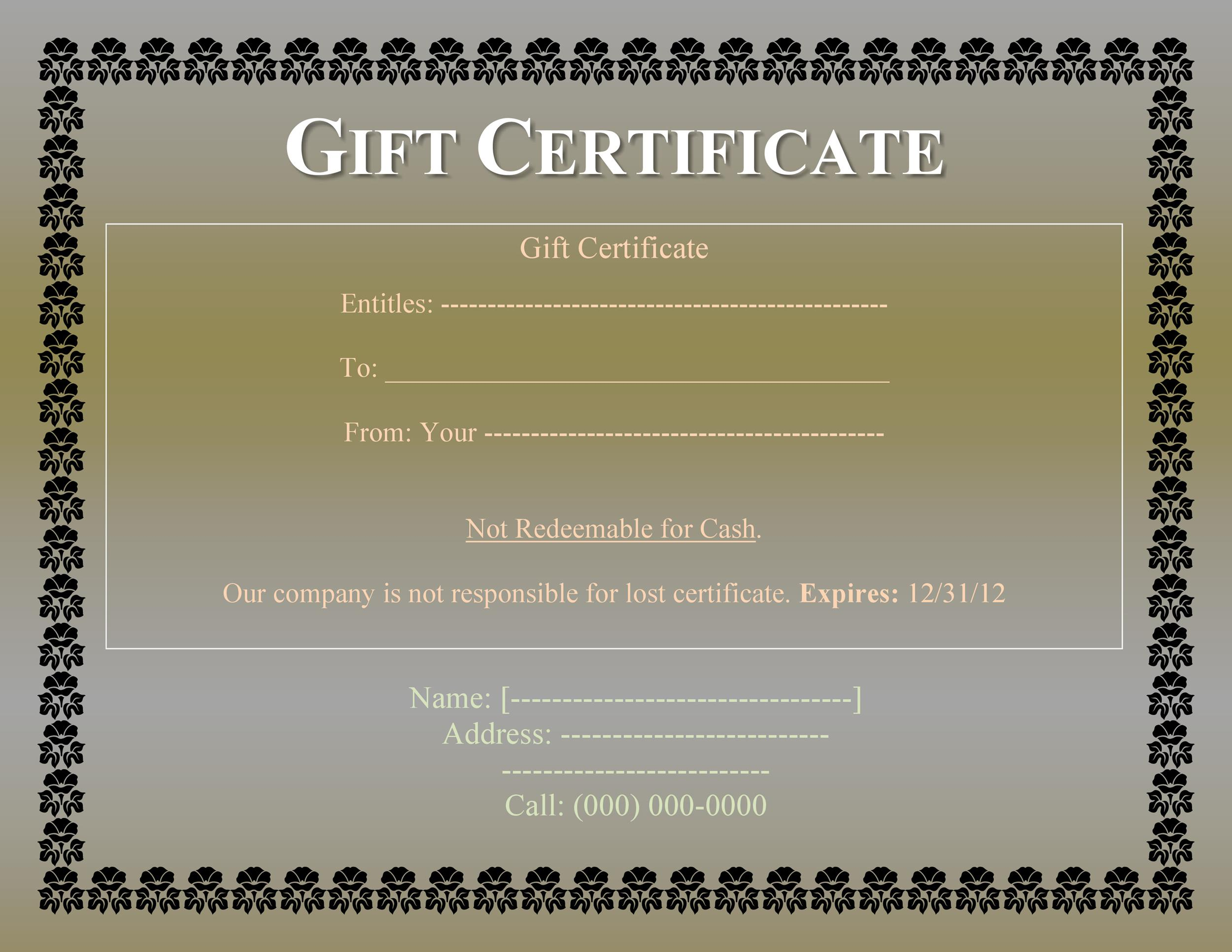 Printable Gift Certificate Template 28  Gift Certificate Download