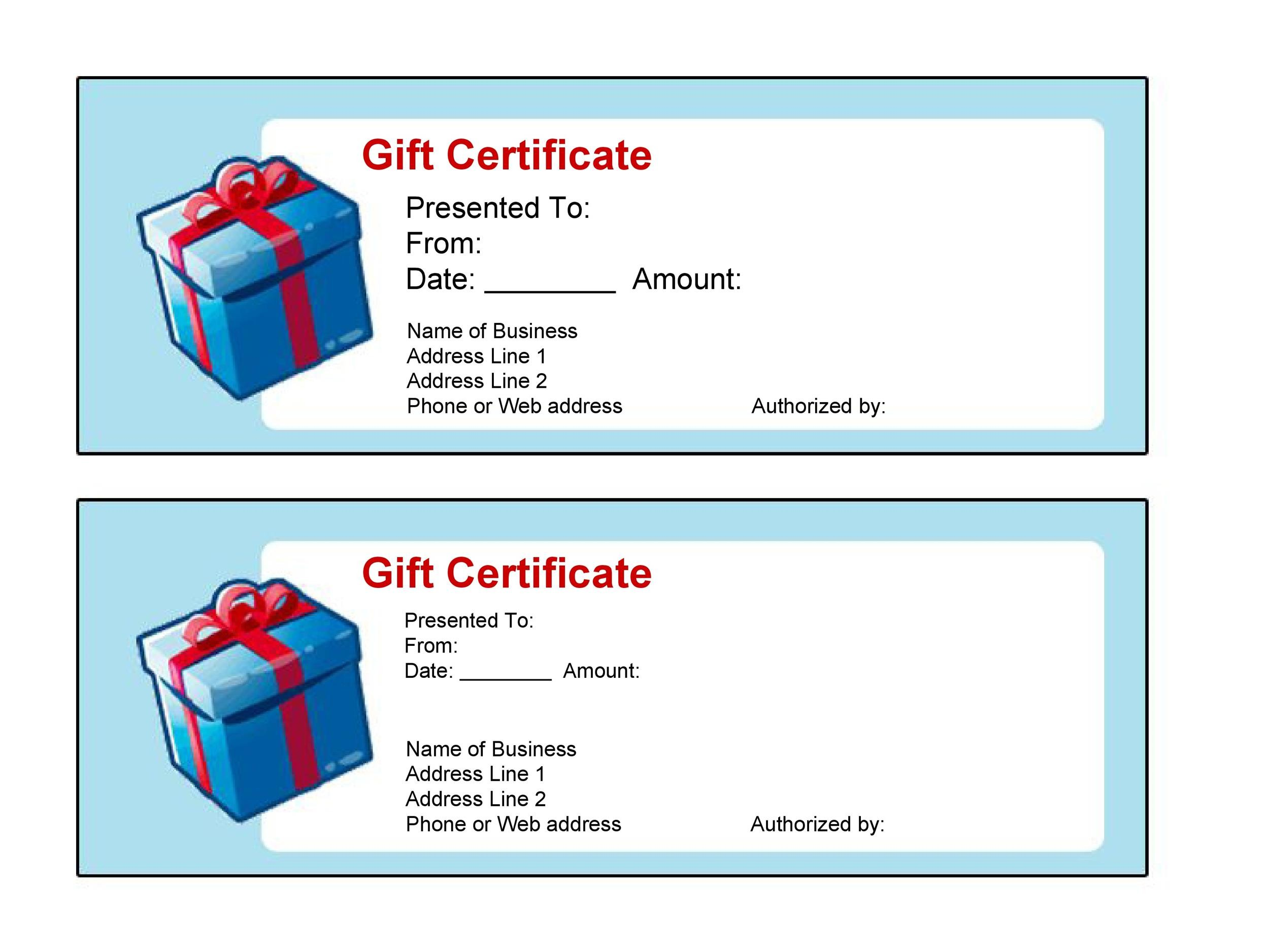 Printable Gift Certificate Template 41  Certificate Templates For Word