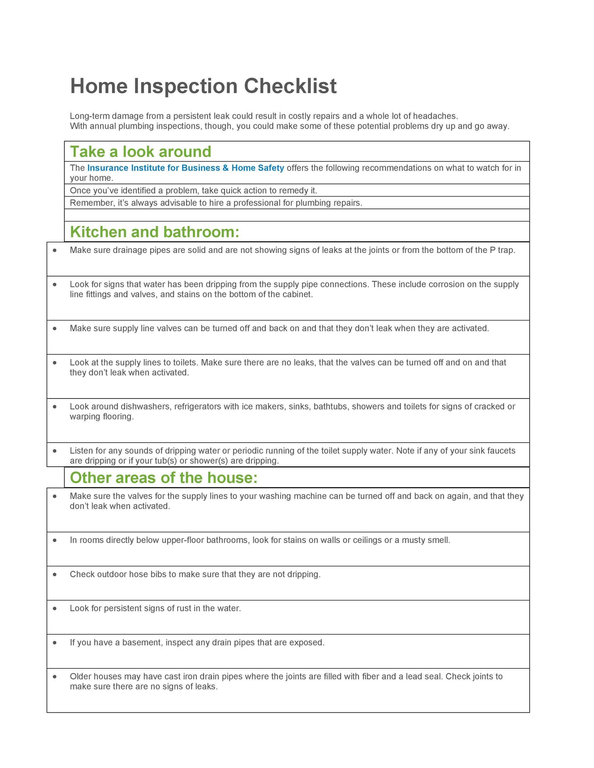 Printable Home Inspection Checklist 07