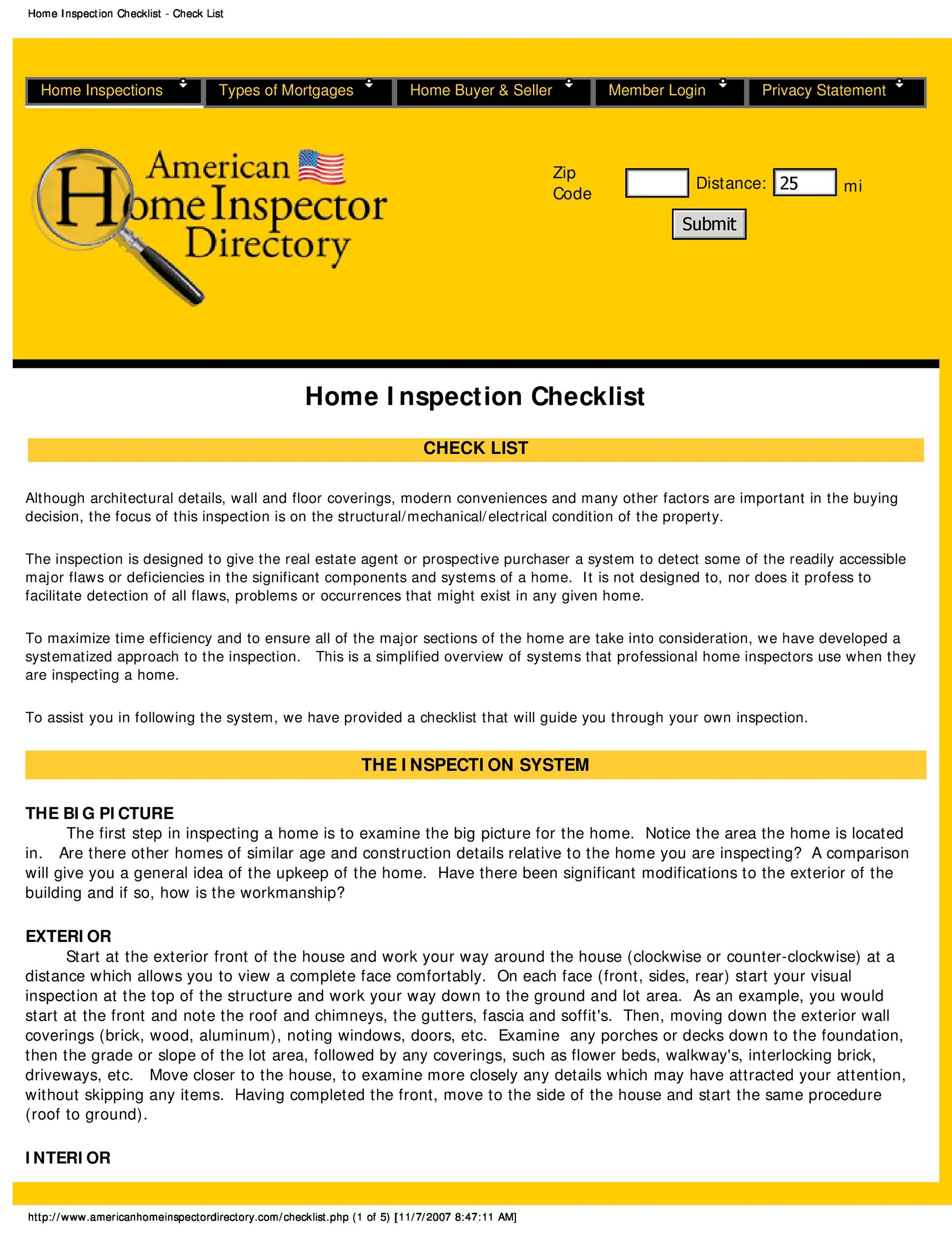 printable home inspection checklist