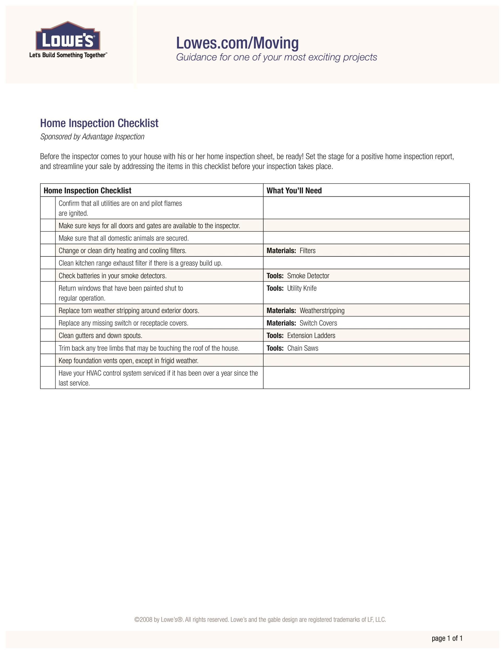 Printable Home Inspection Checklists Word Pdf  Template Lab