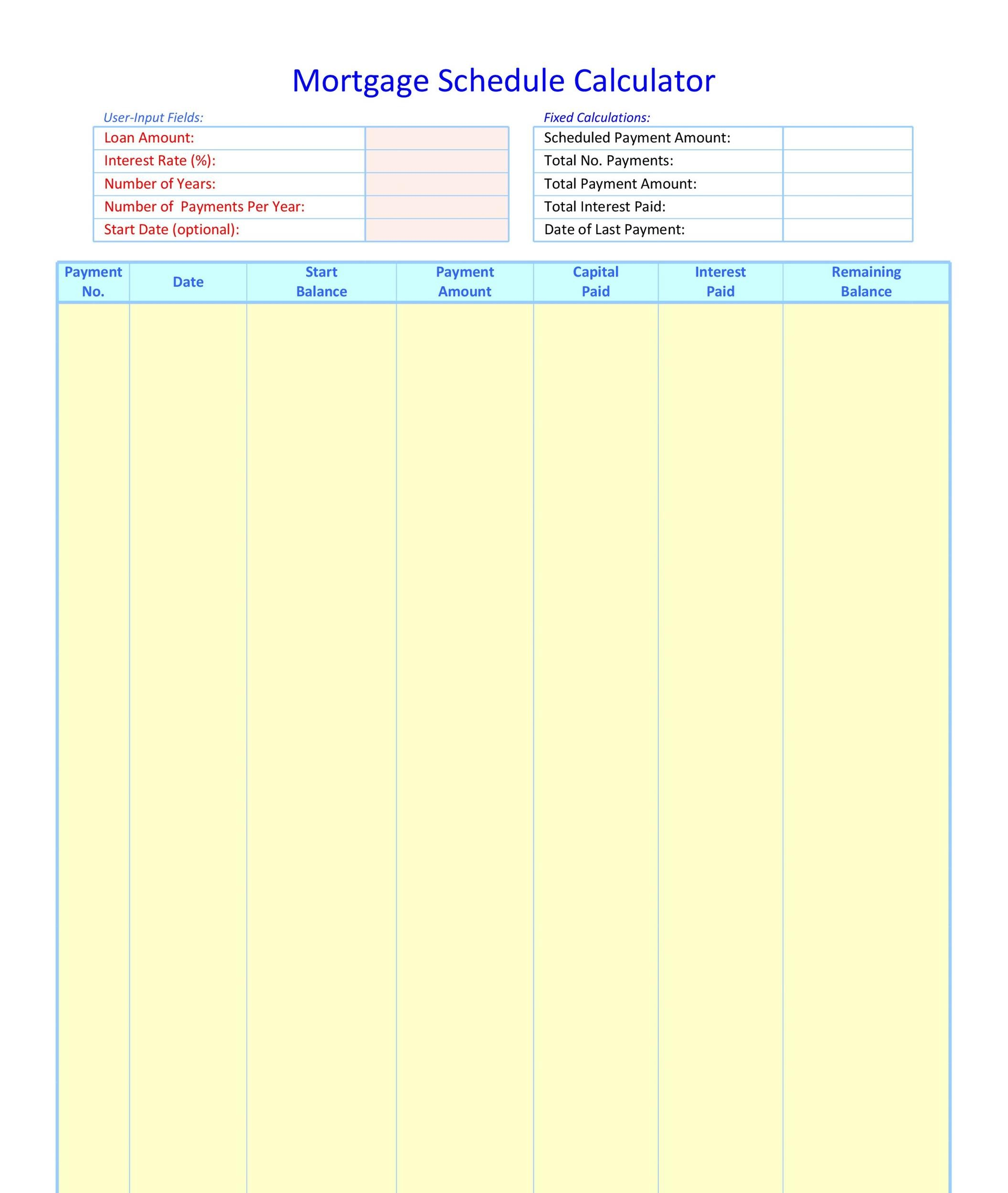 Free Loan Amortization Template 08