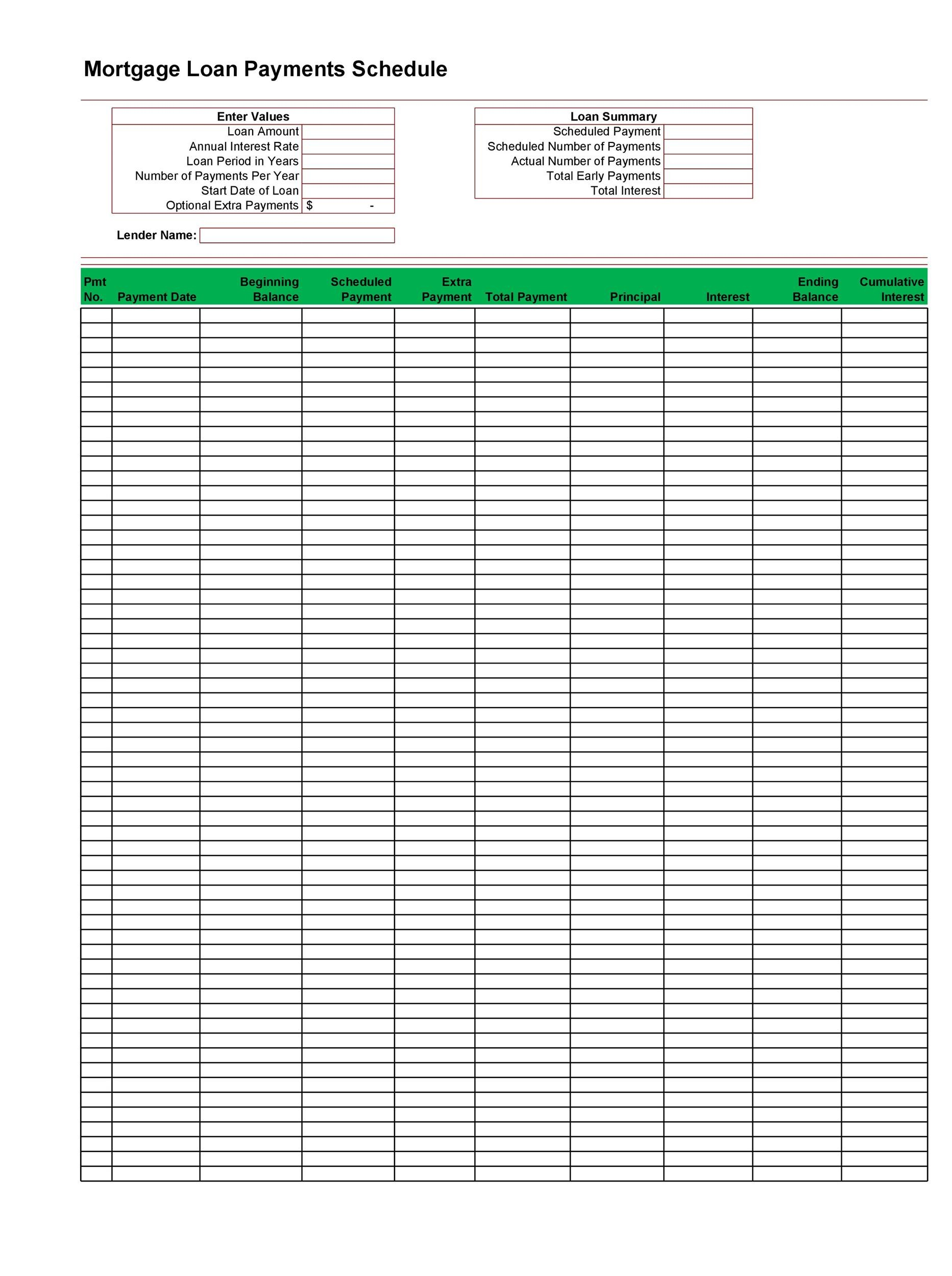 Printable Loan Amortization Template 13