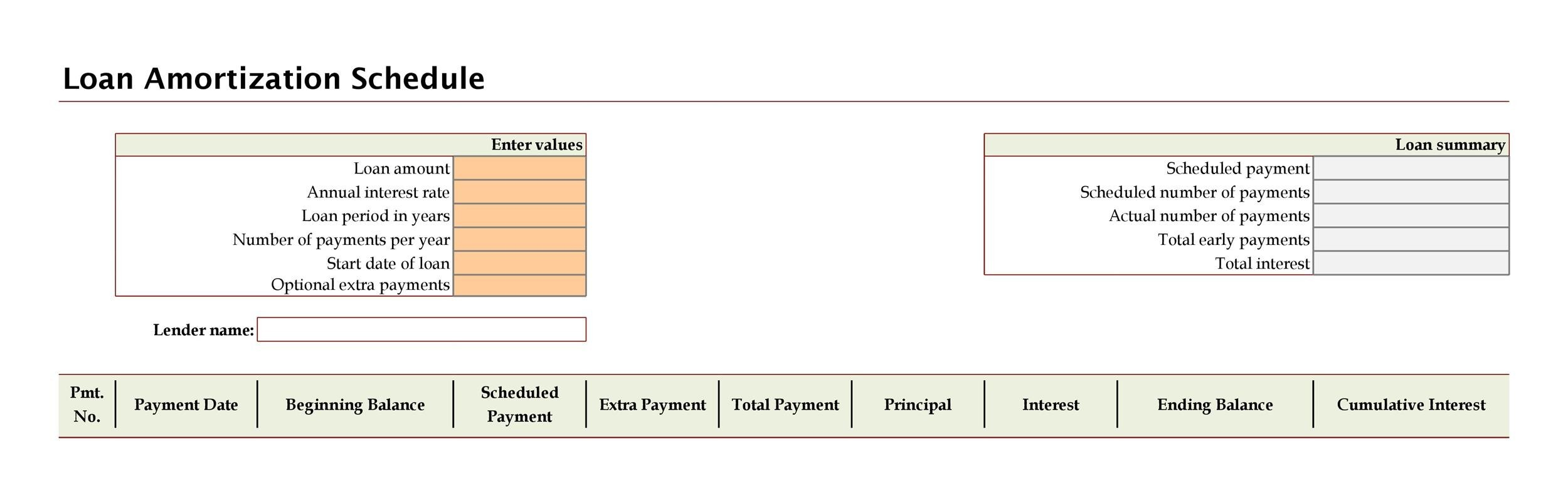 loan amortization calculator extra payment