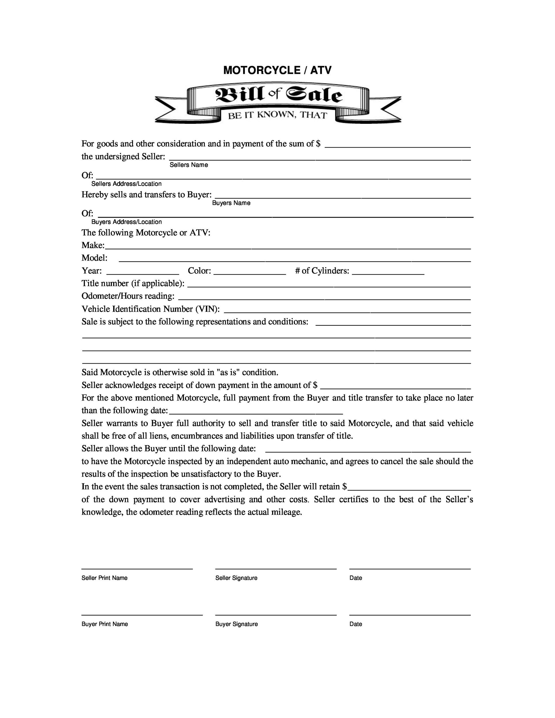 motorcycle bill of sale template