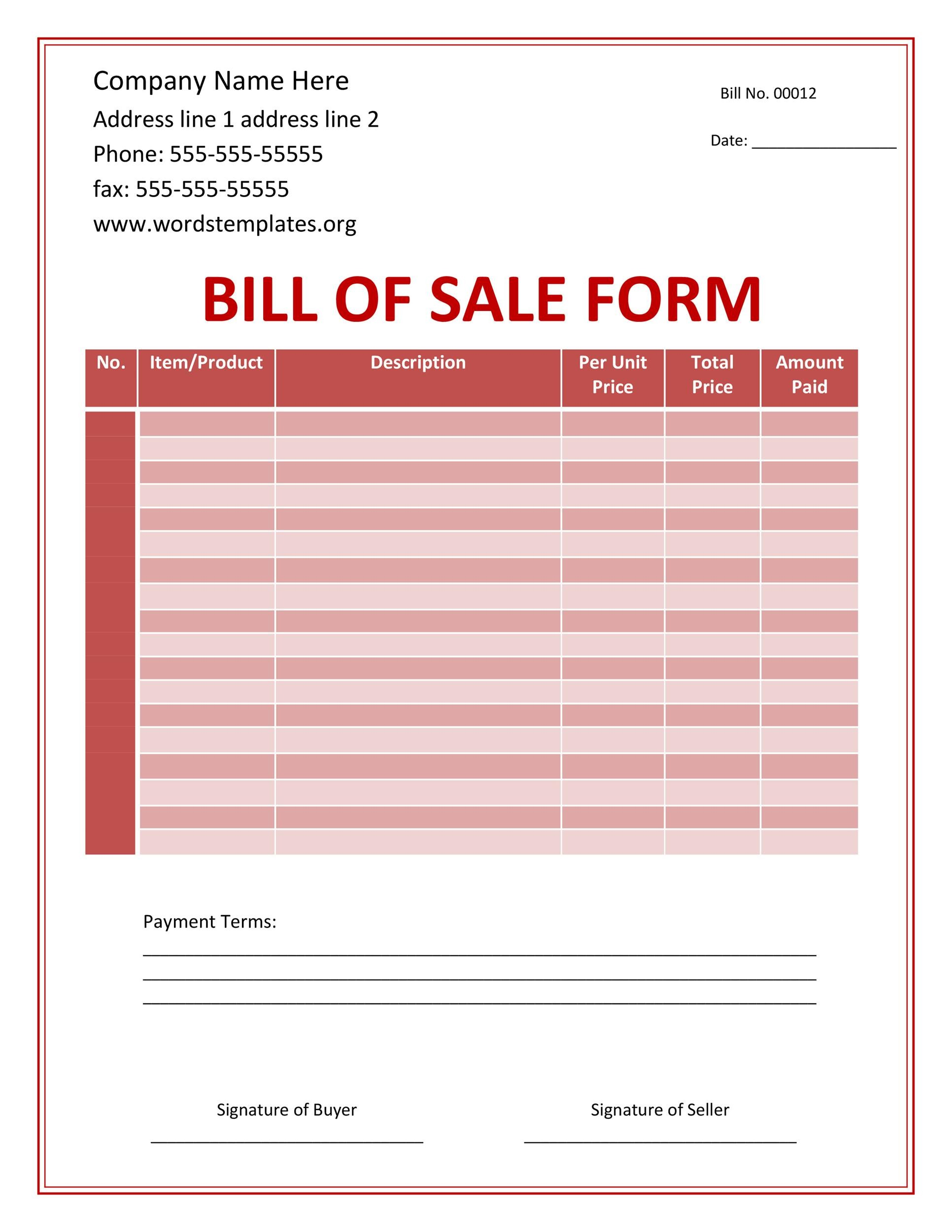 Free bill of sale template 40