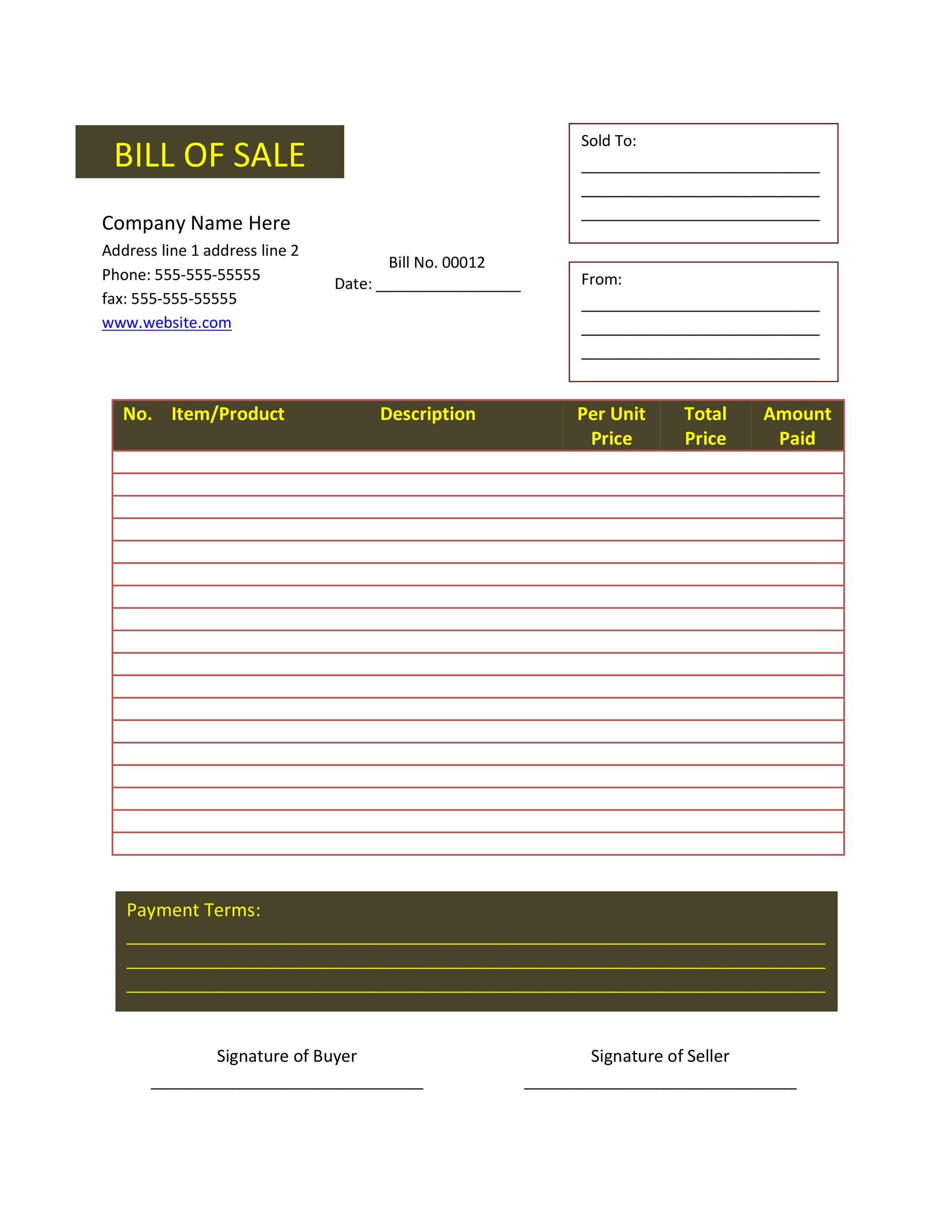 Free bill of sale template 41