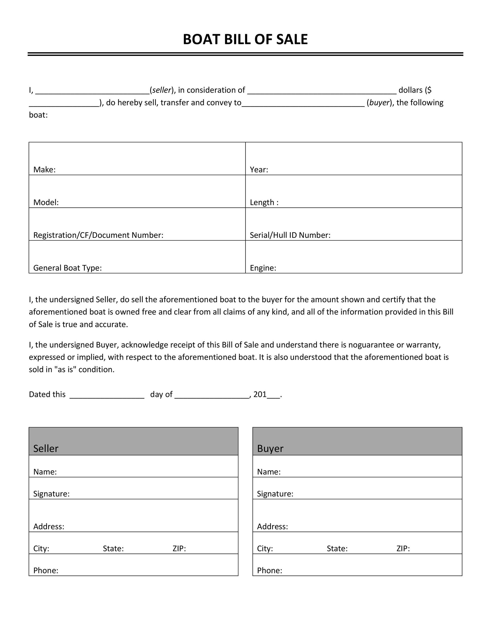 Printable Bill Of Sale Template 44  Business Sale Contract Template