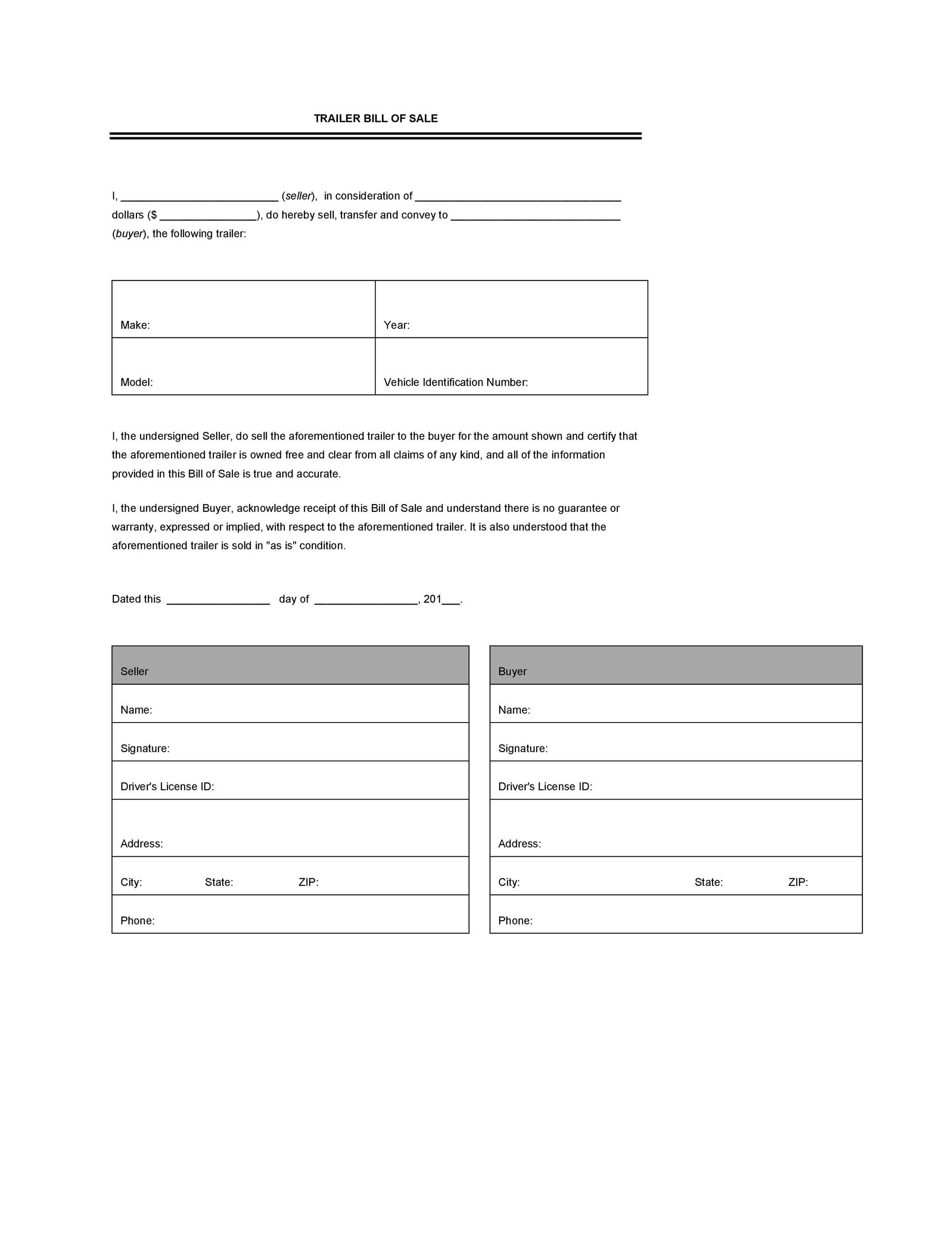 Free bill of sale template 46