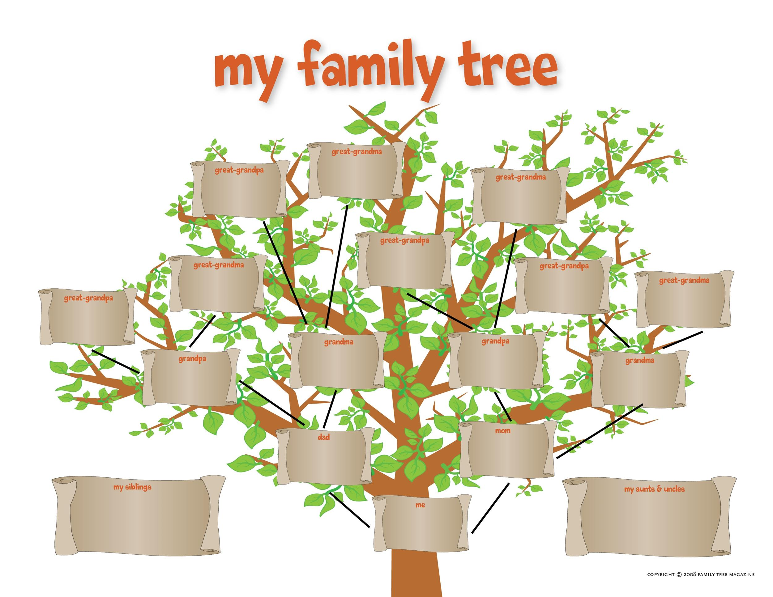 50 free family tree templates word excel pdf for Plain family tree template
