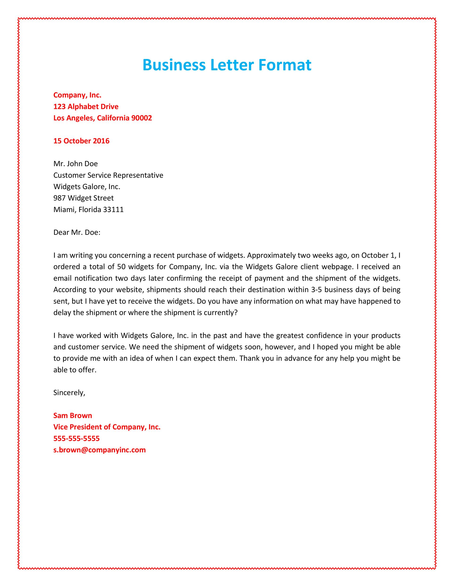 business letter example format