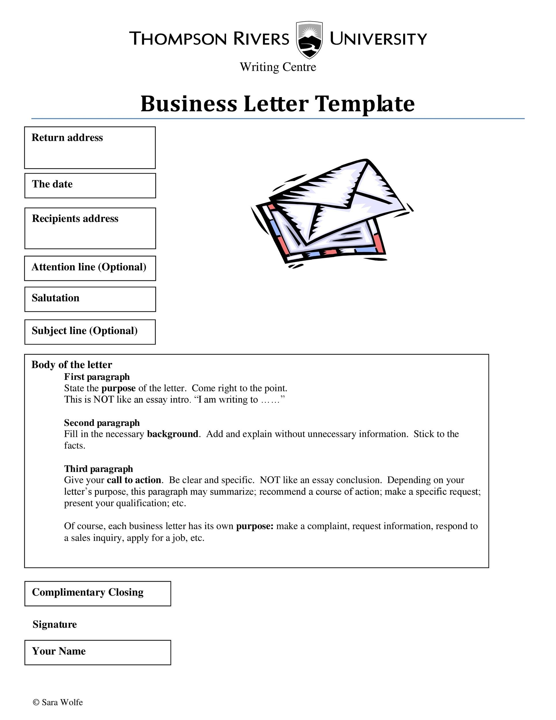 formal business letter format template