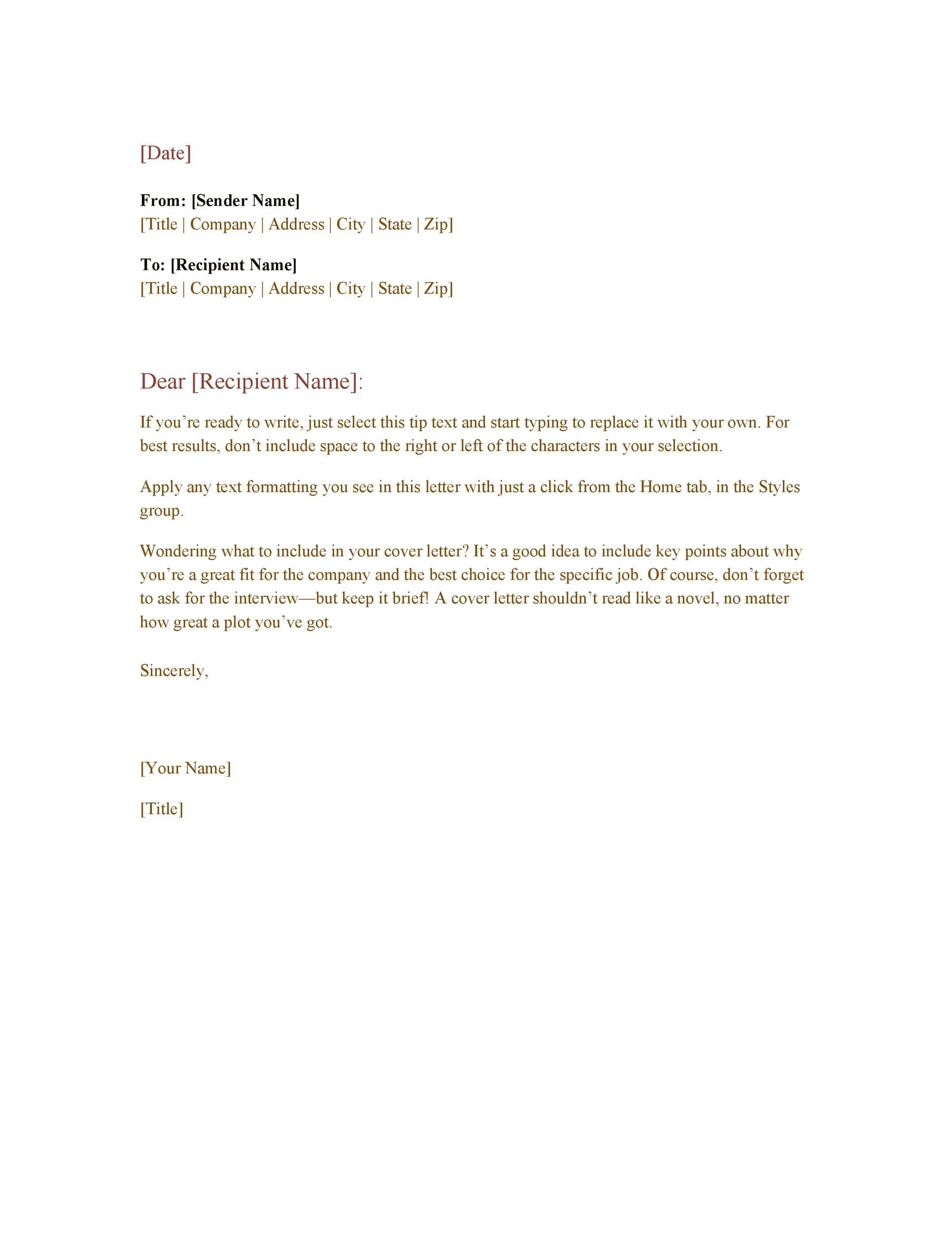 35 Formal Business Letter Format Templates Examples Template Lab – Sample Proper Letter Format
