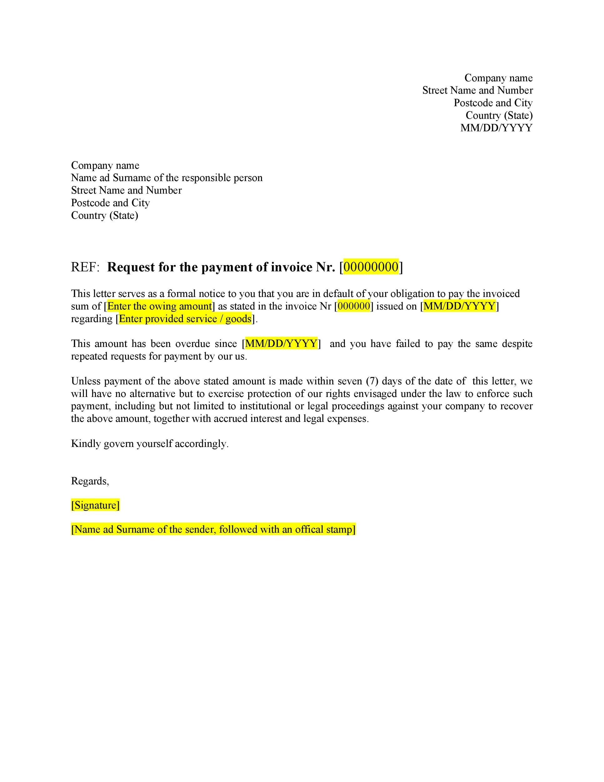 Sample business letters format