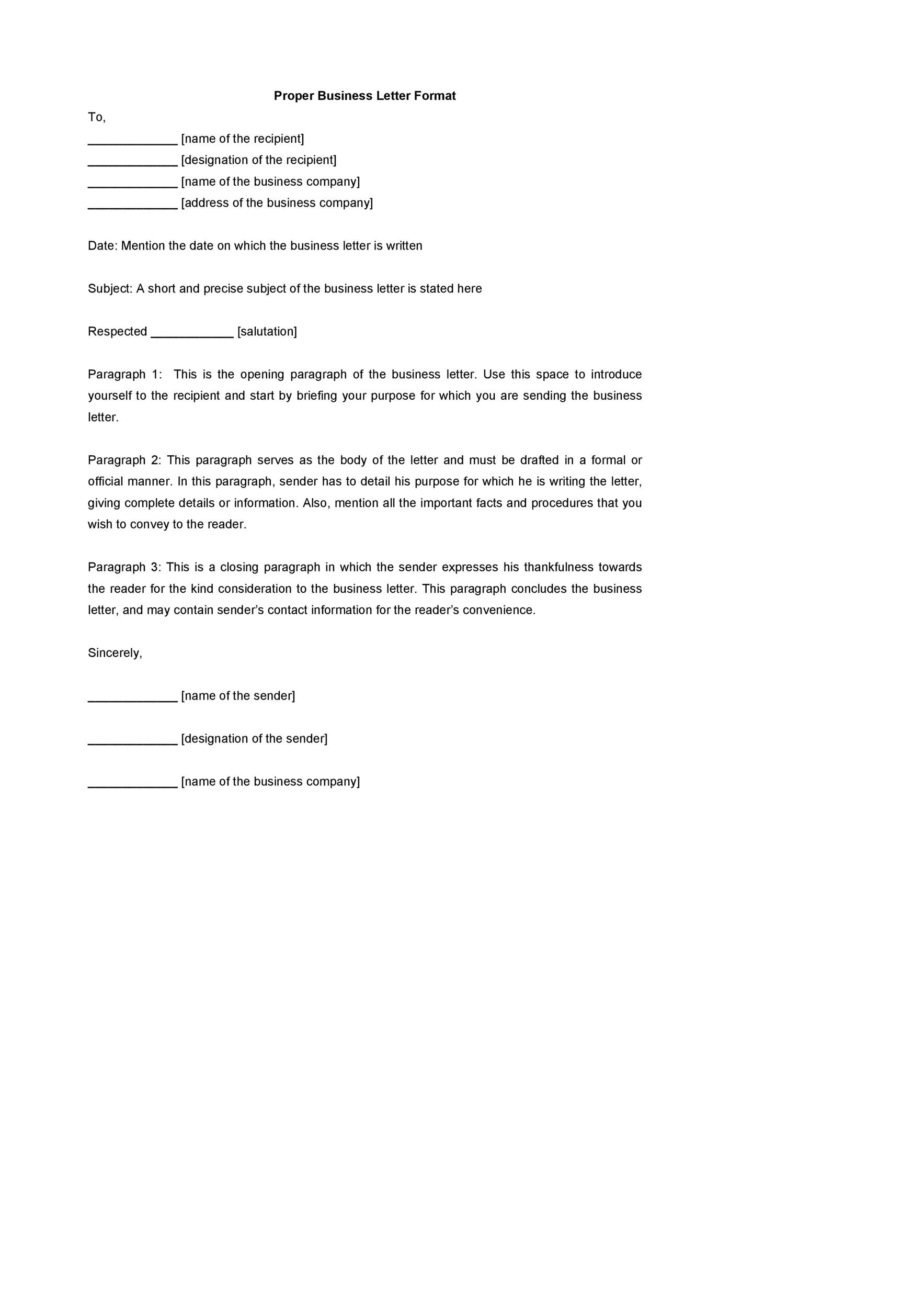 ideas collection printable sample proper business letter format form