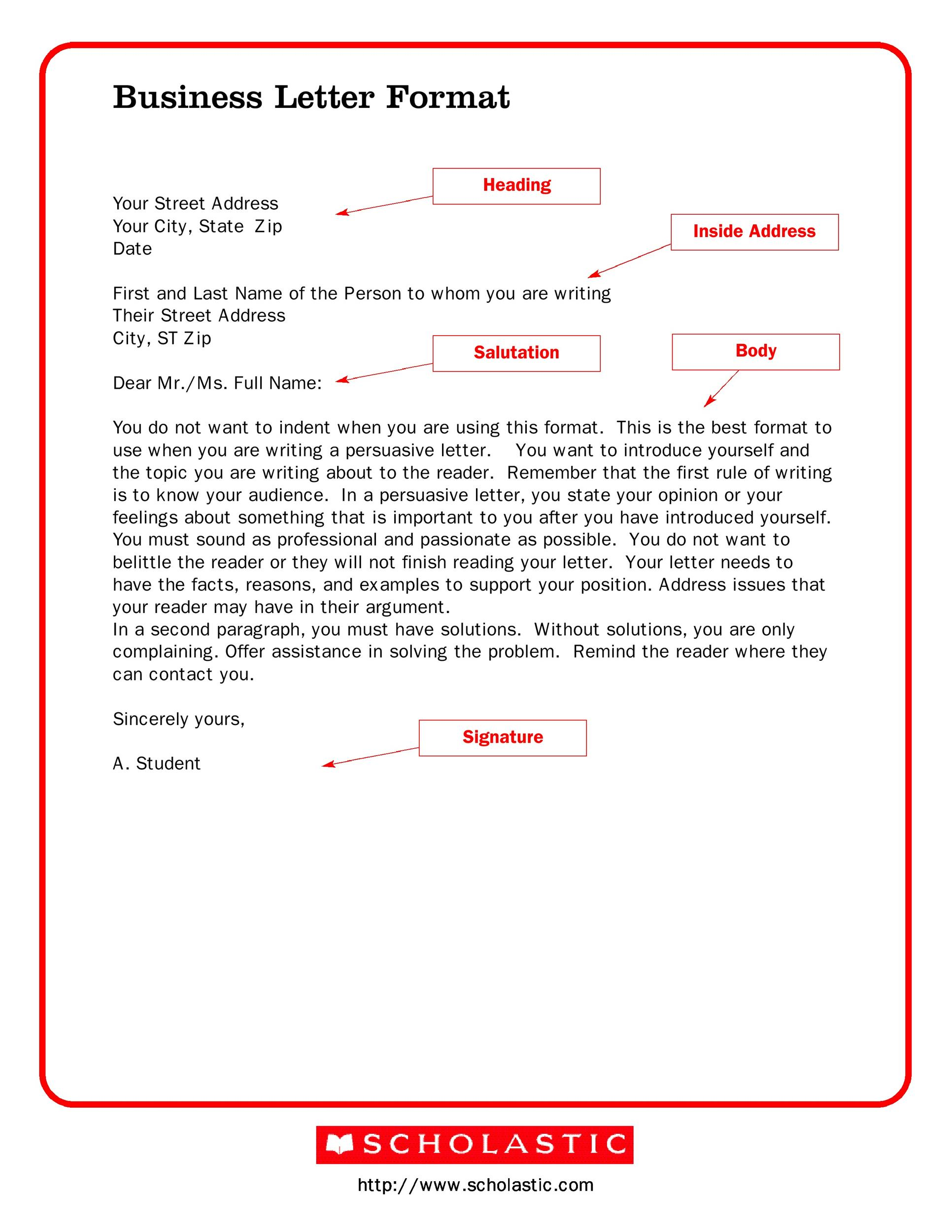 Format for a business letter template wajeb