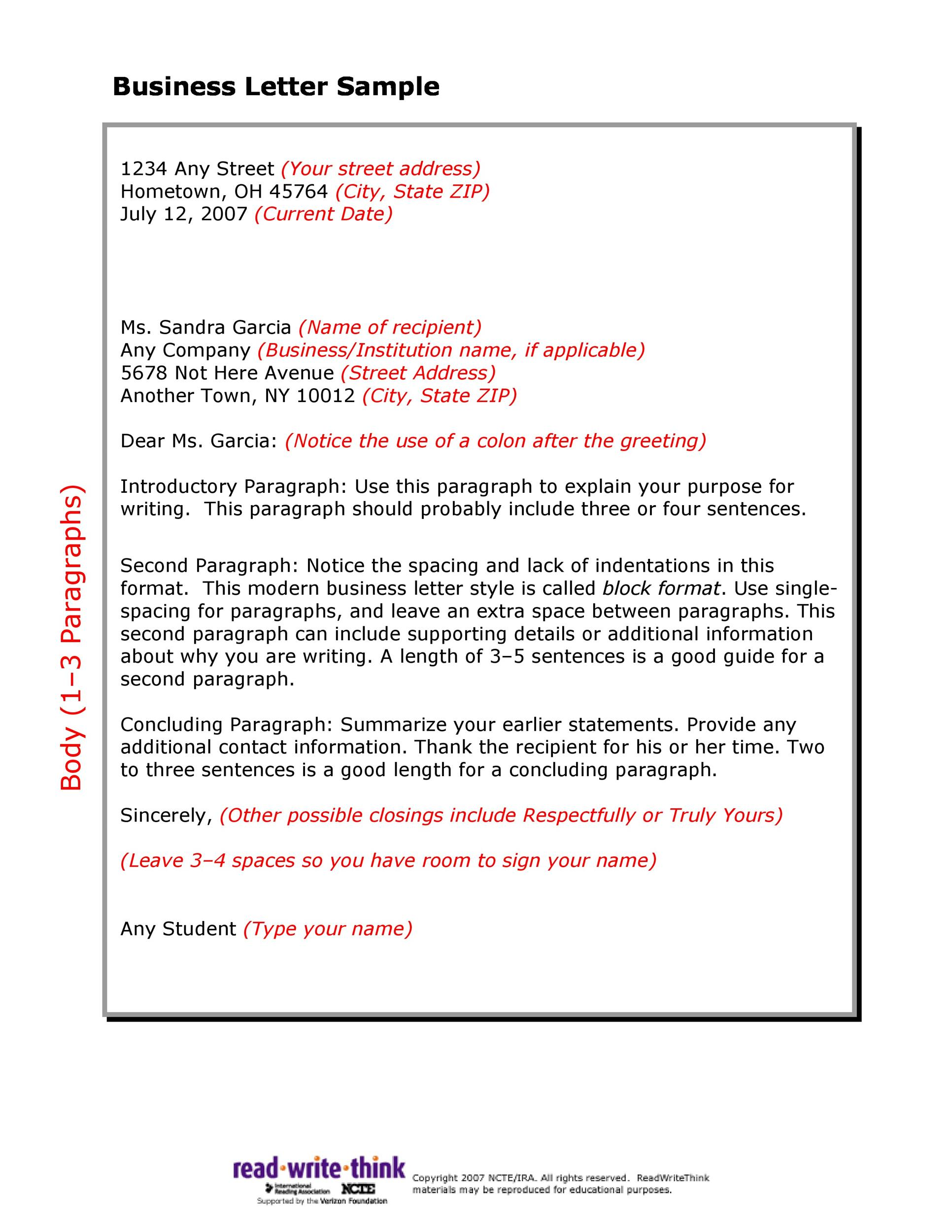 Business Format Letter Example  EczaSolinfCo