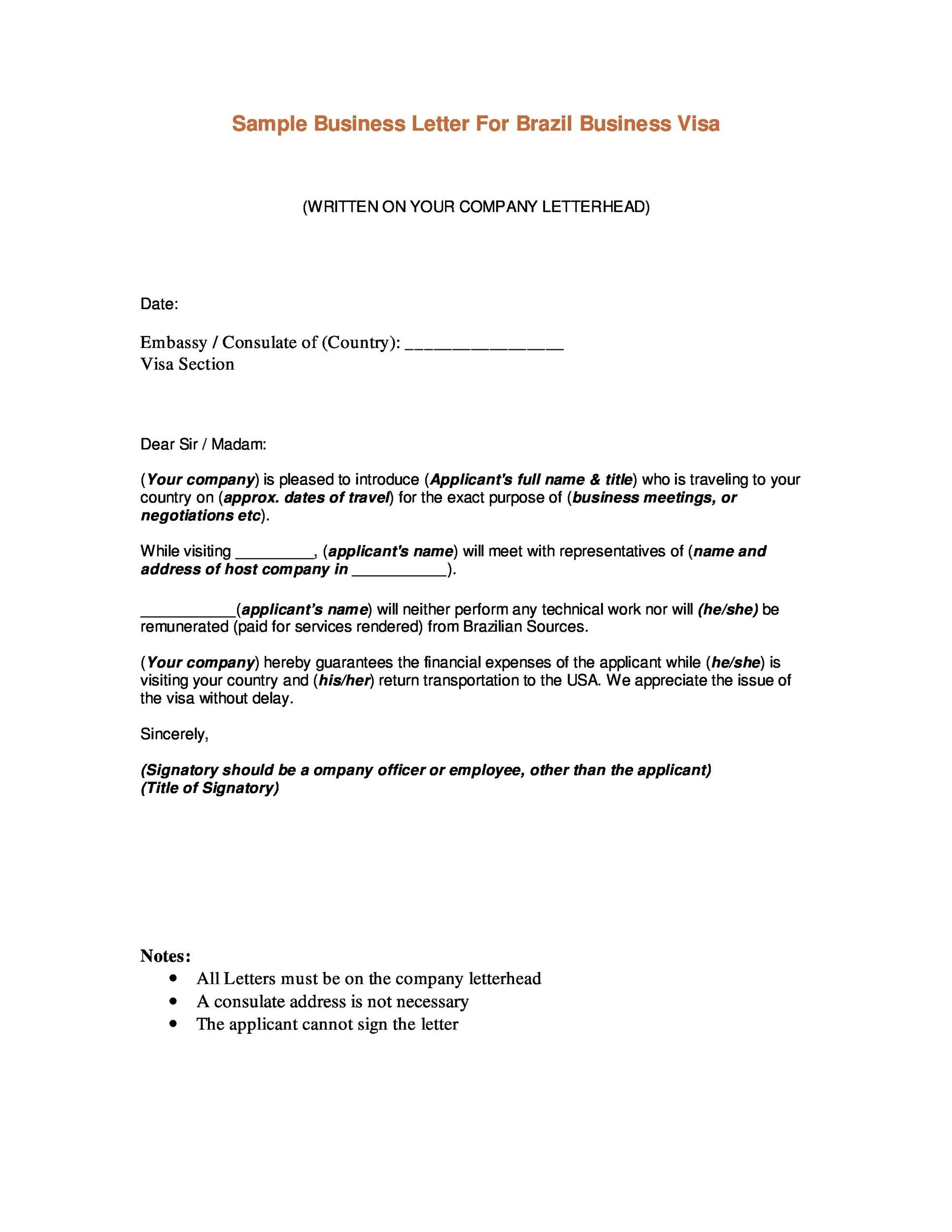 Letter of introduction visa for Consul templates