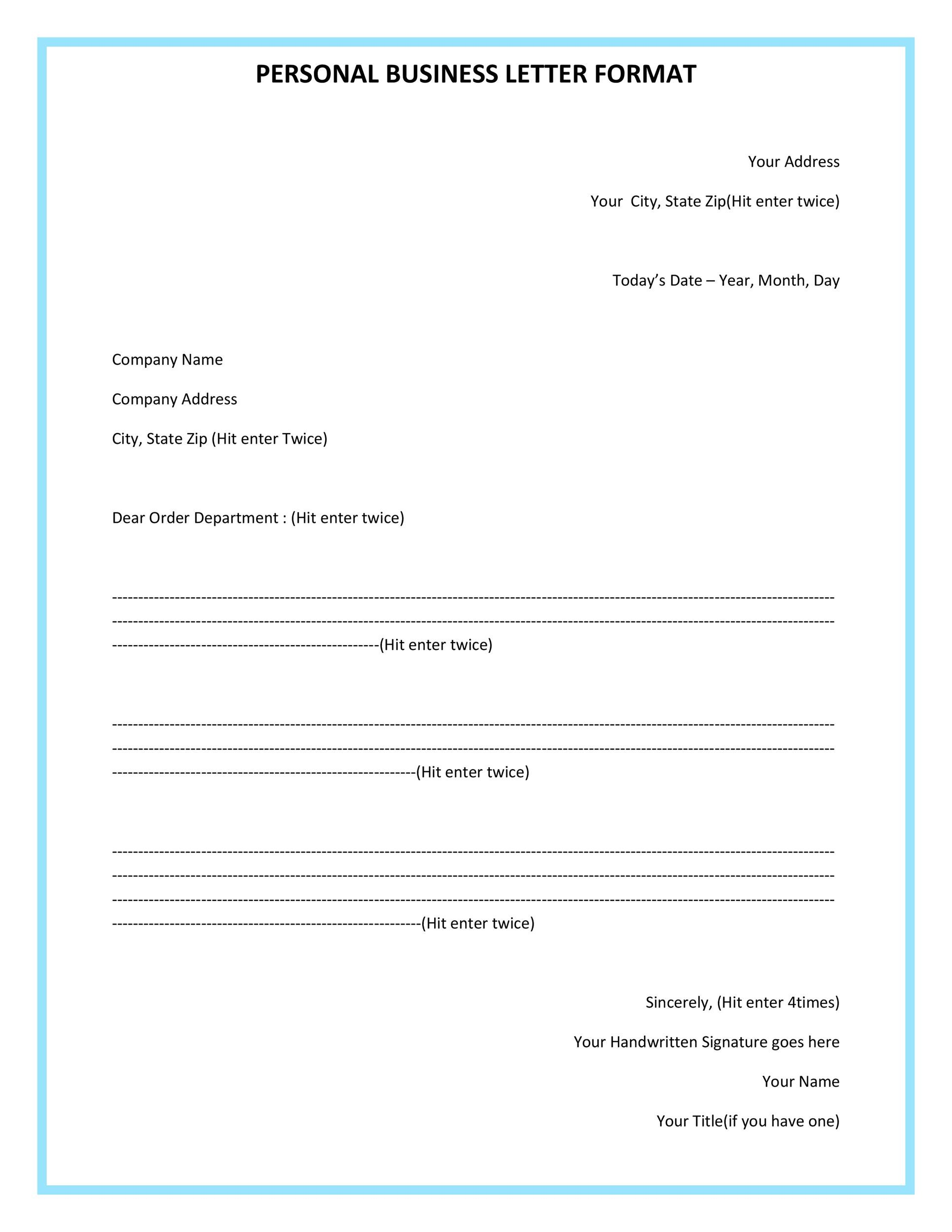 Business Letter Format Sample Template Krys Tk
