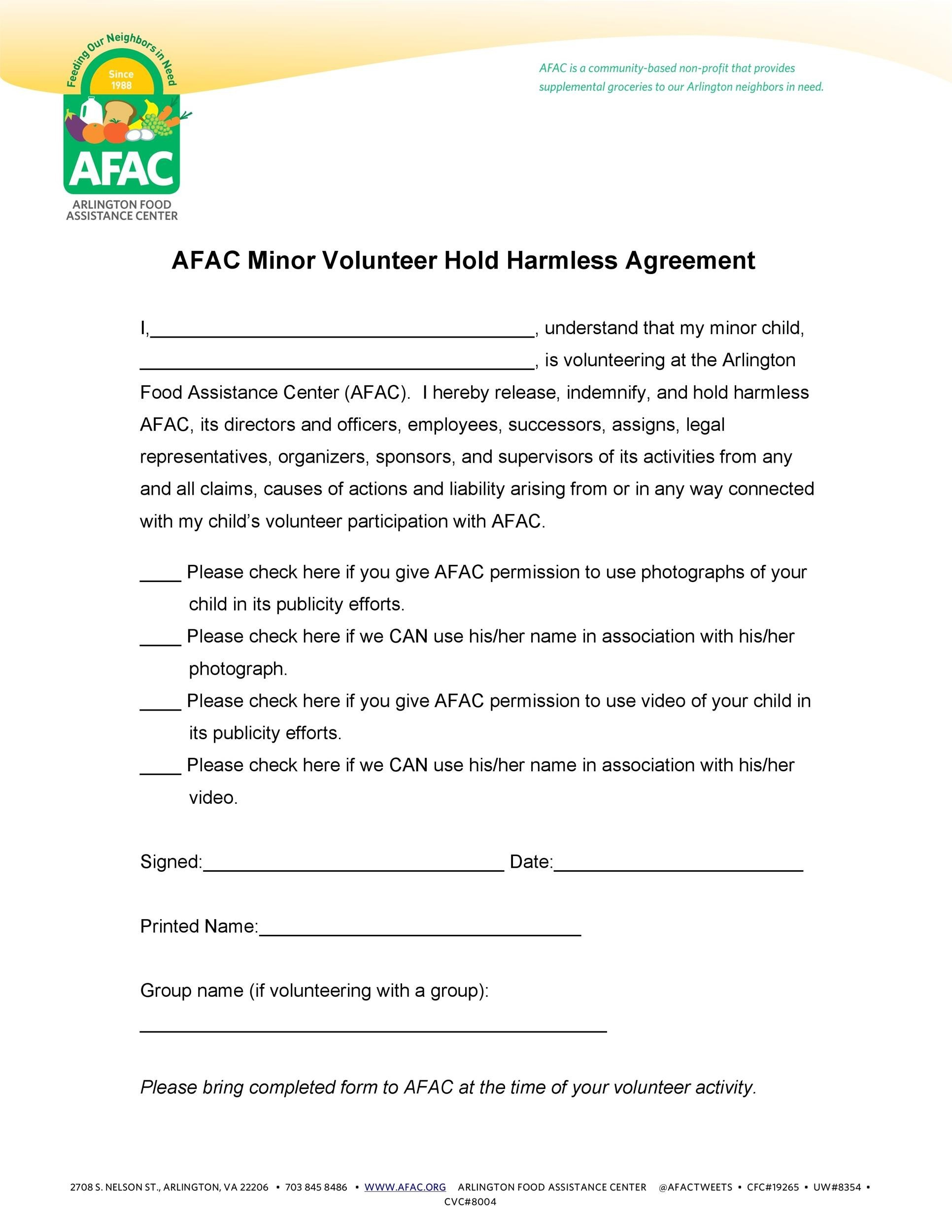 Printable Hold Harmless Agreement Template 01  Agreement Contract Sample Between Two Parties