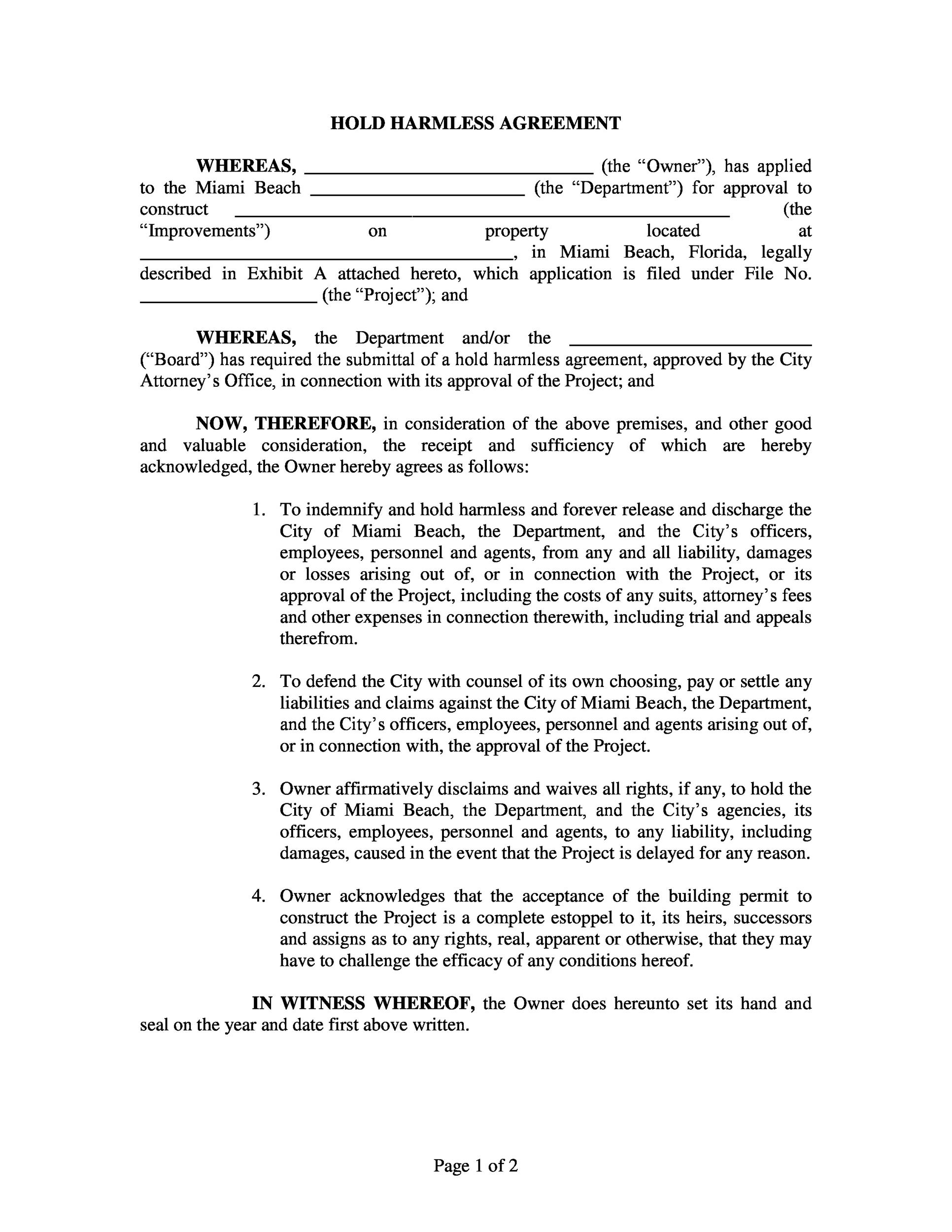 Printable Hold Harmless Agreement Template 04  Agent Agreement Template Free