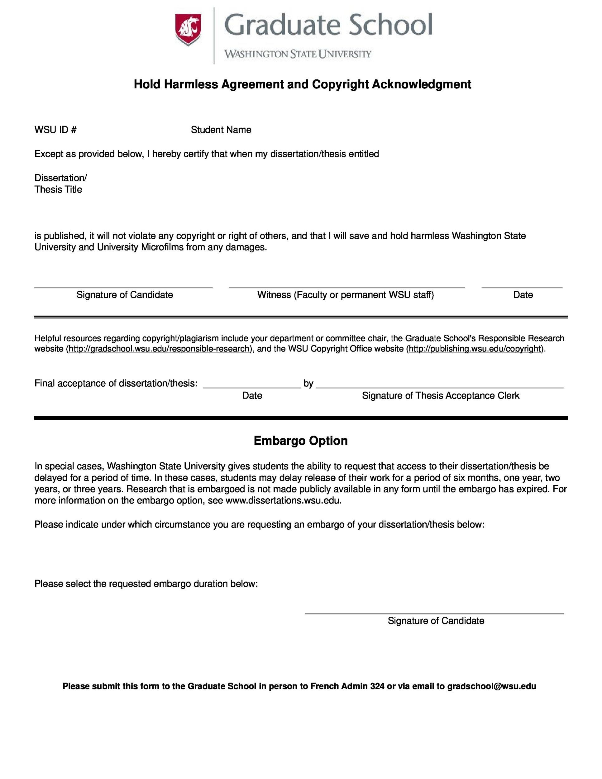 Free Hold Harmless Agreement Template 06