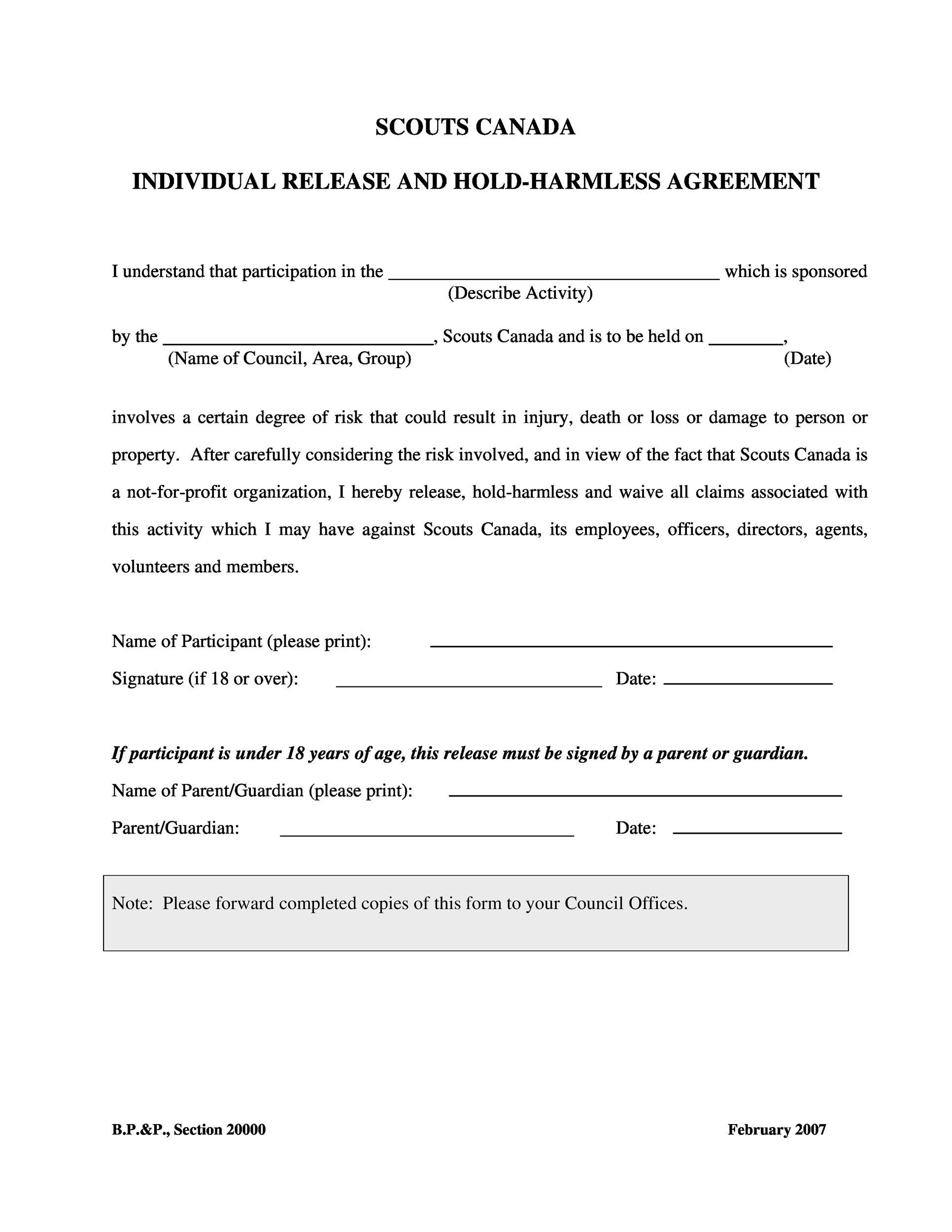 Free Hold Harmless Agreement Template 07