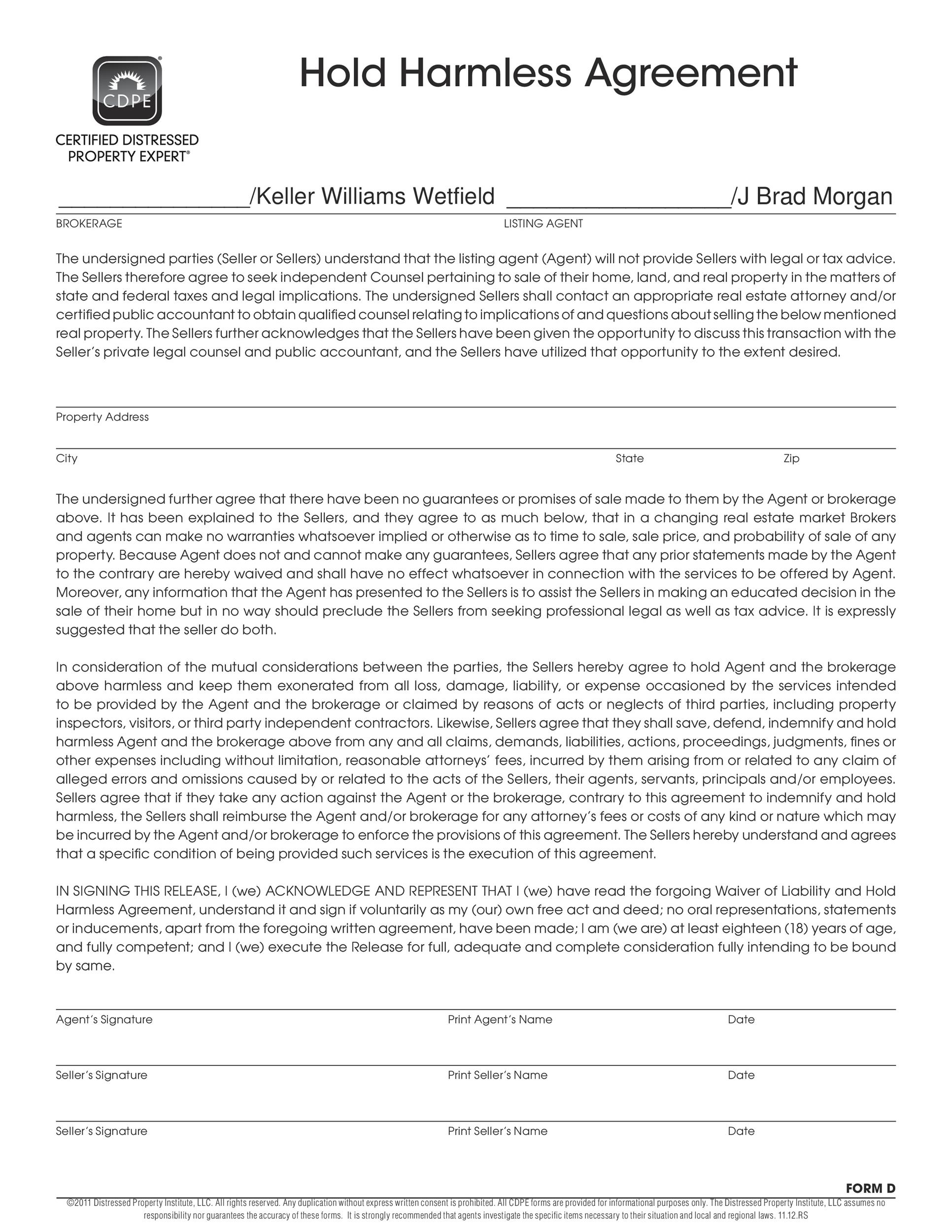 Printable Hold Harmless Agreement Template 09
