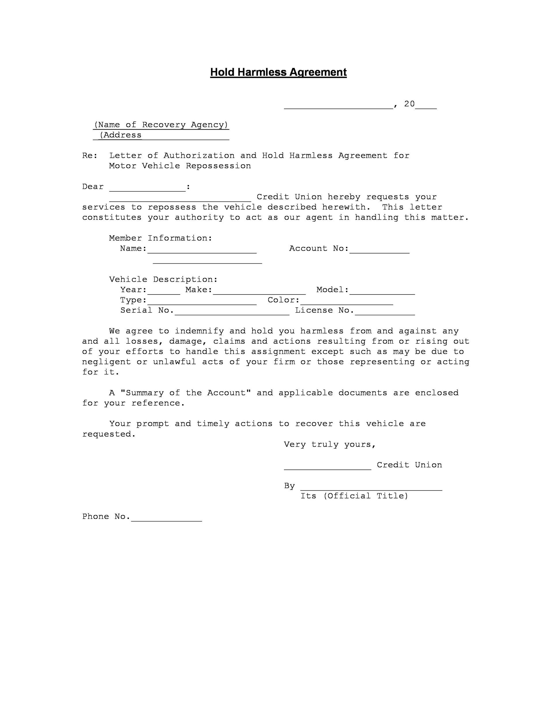 Free Hold Harmless Agreement Template 10