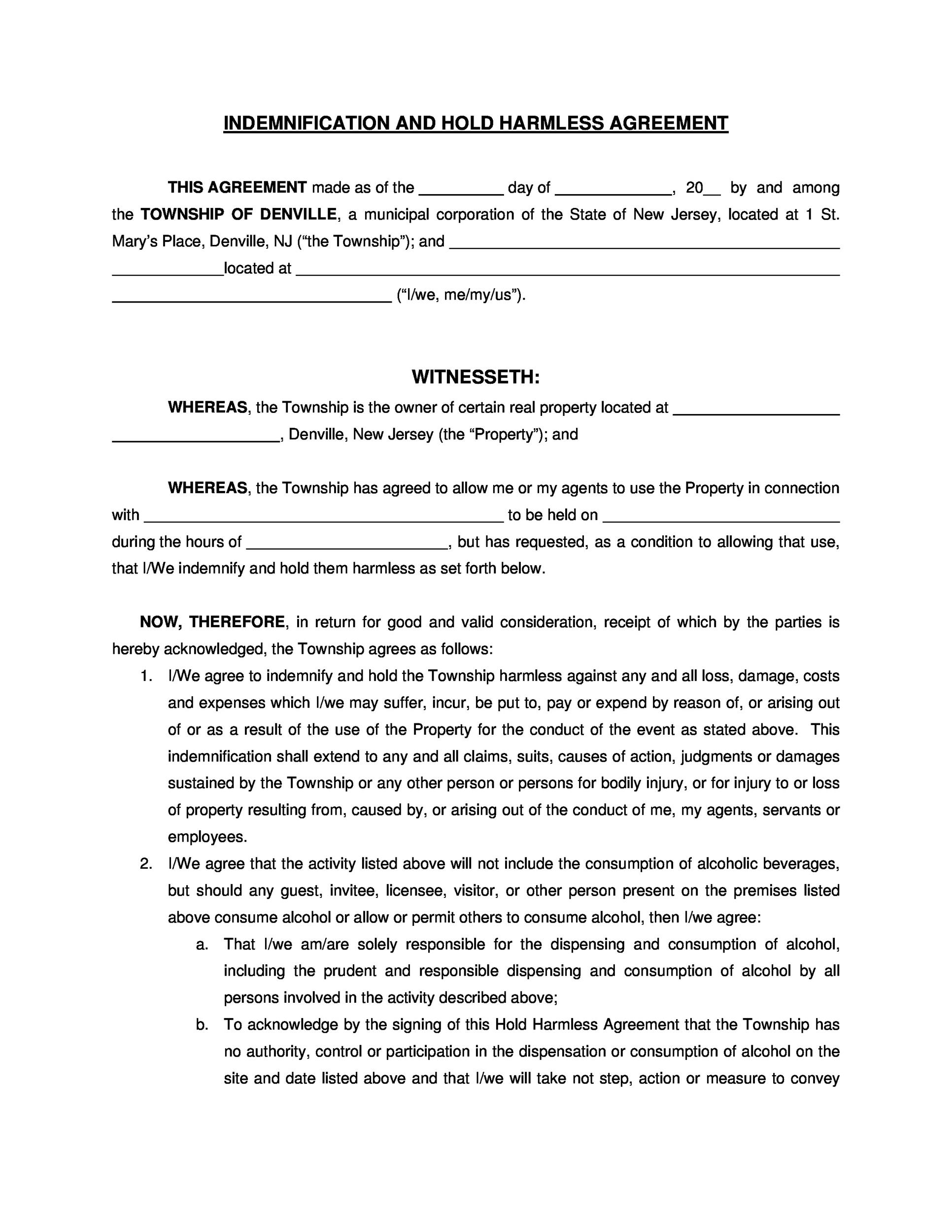 Printable Hold Harmless Agreement Template 11  Indemnity Template