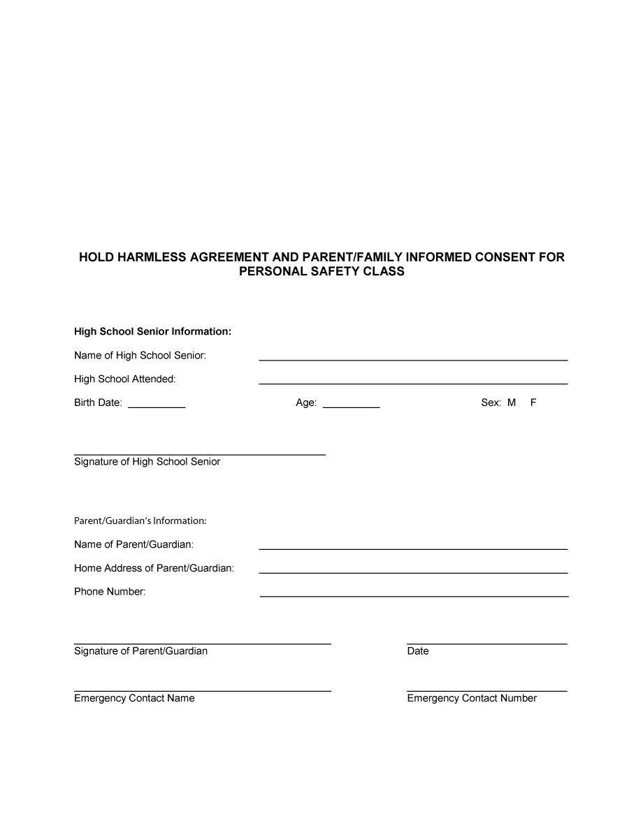 Printable Hold Harmless Agreement Template 12  Liability Contract Template
