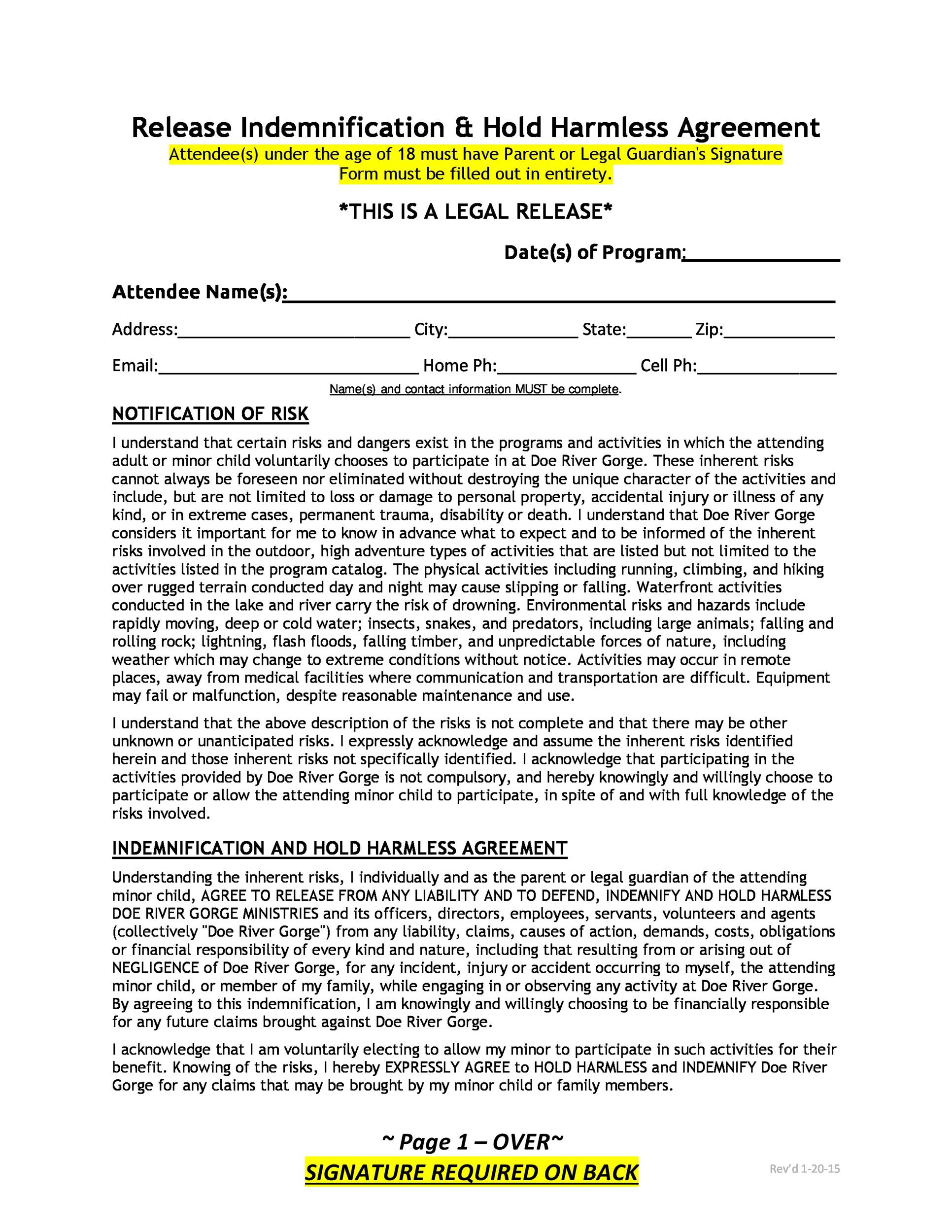 Free Hold Harmless Agreement Template 13