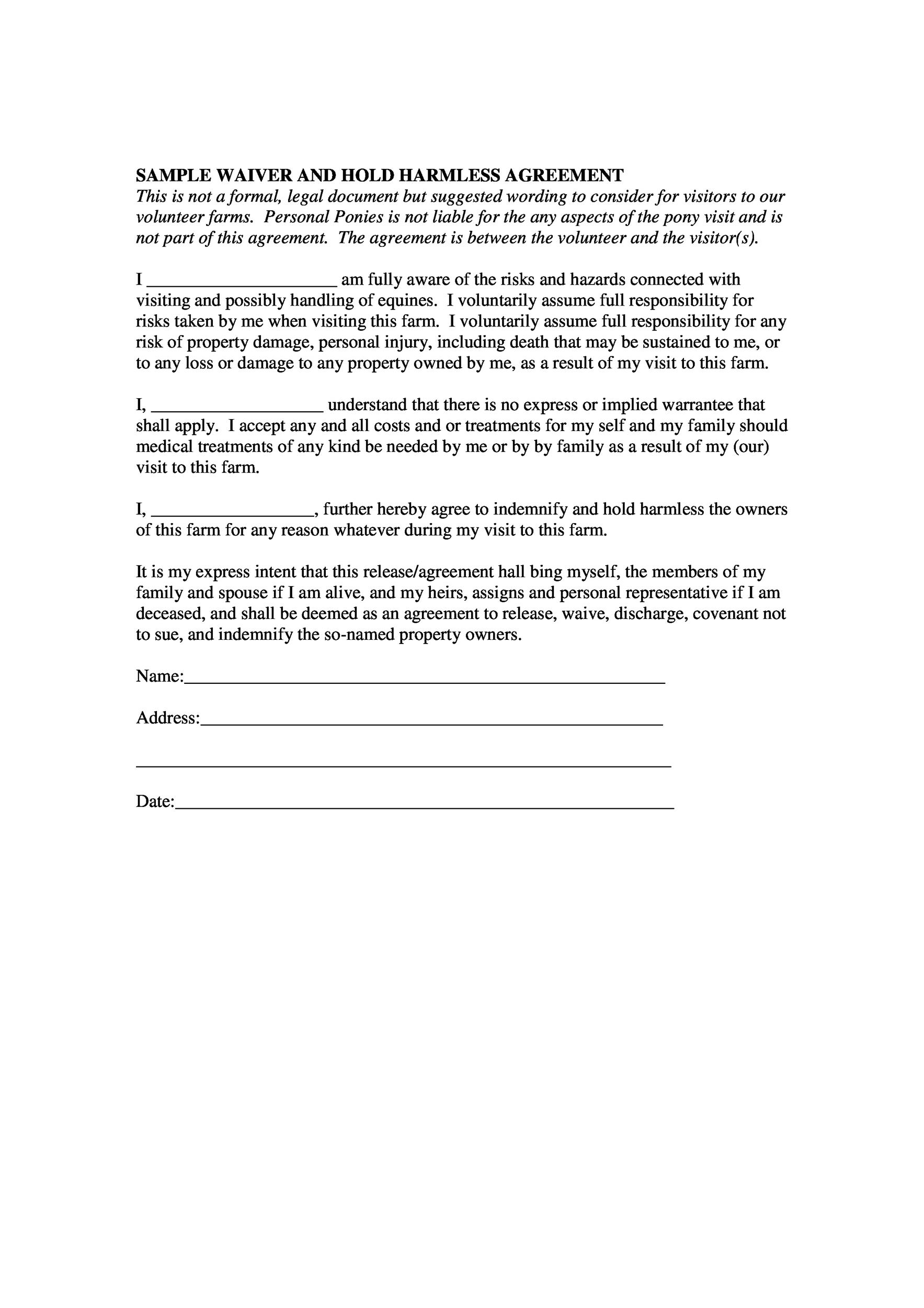 40 Hold Harmless Agreement Templates Free Template Lab – Waiver of Liability Form Free