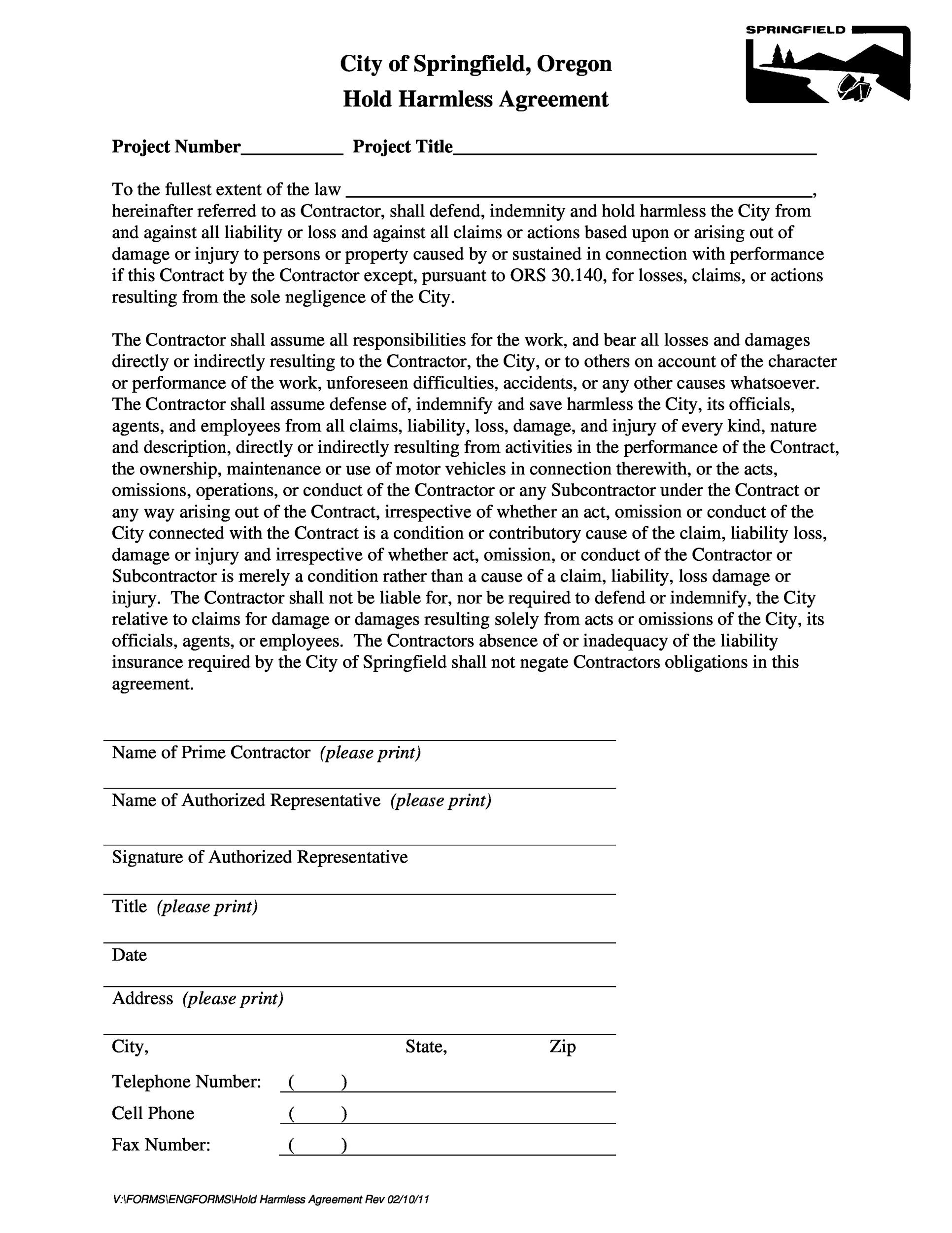 Free Hold Harmless Agreement Template 15
