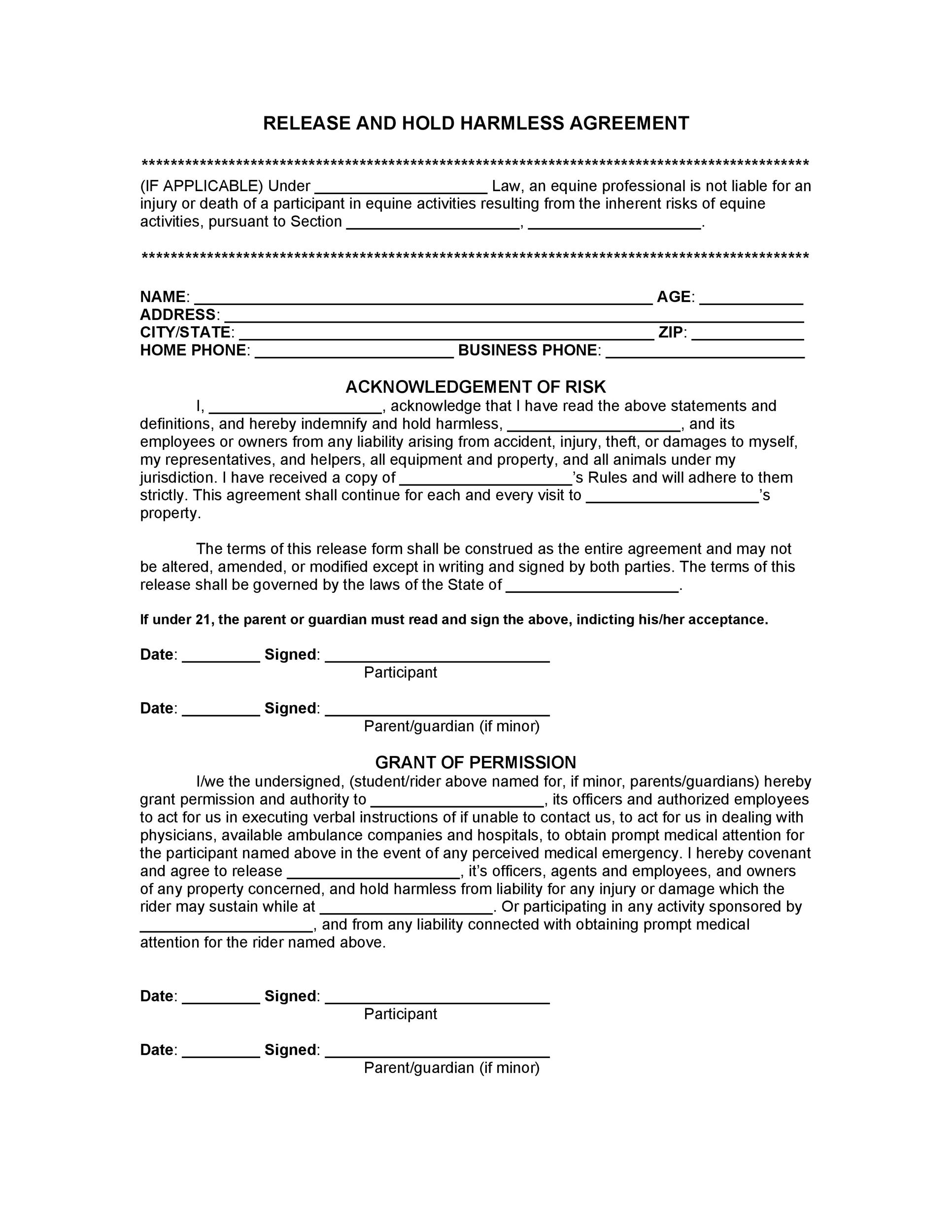 Printable Hold Harmless Agreement Template 16  Liability Contract Template