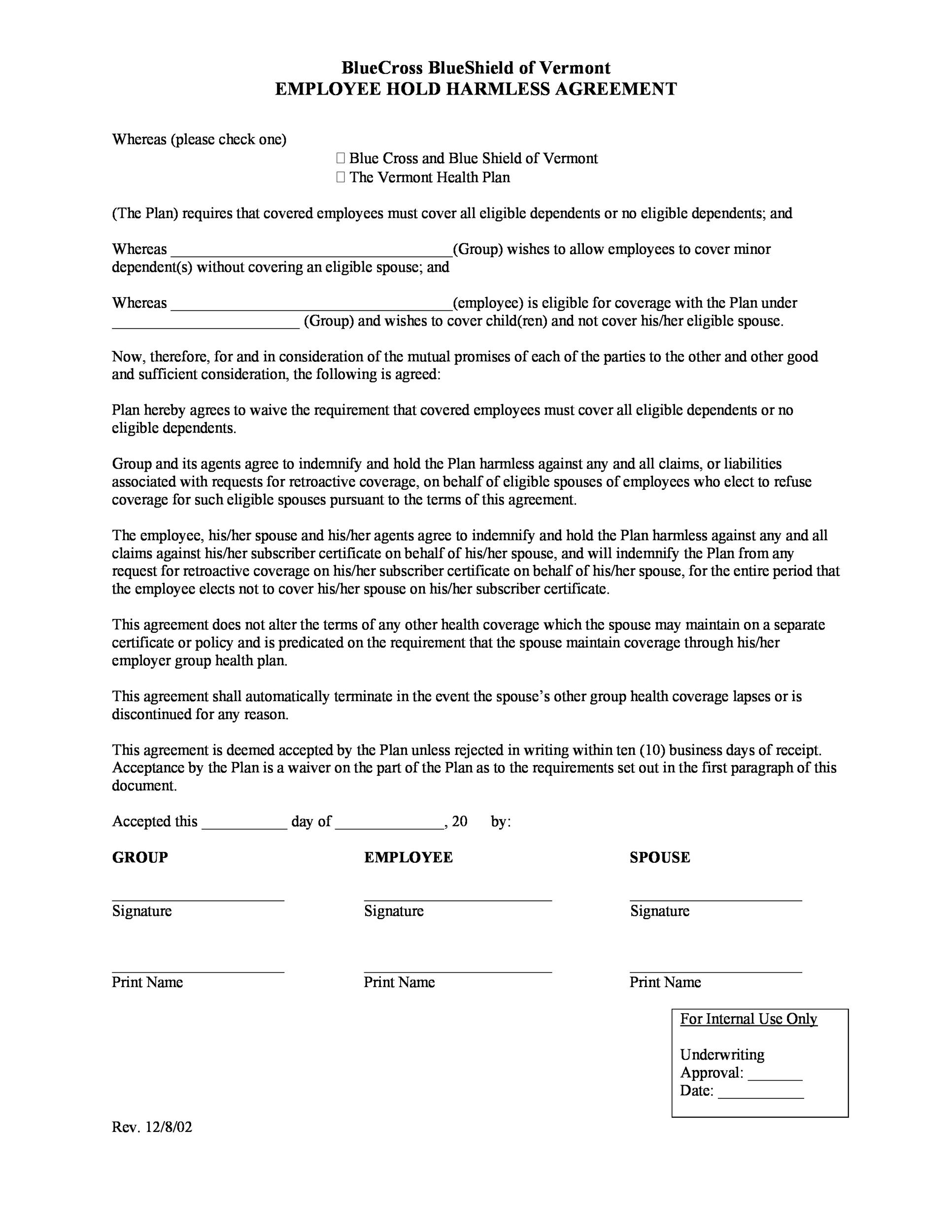 Free Hold Harmless Agreement Template 18