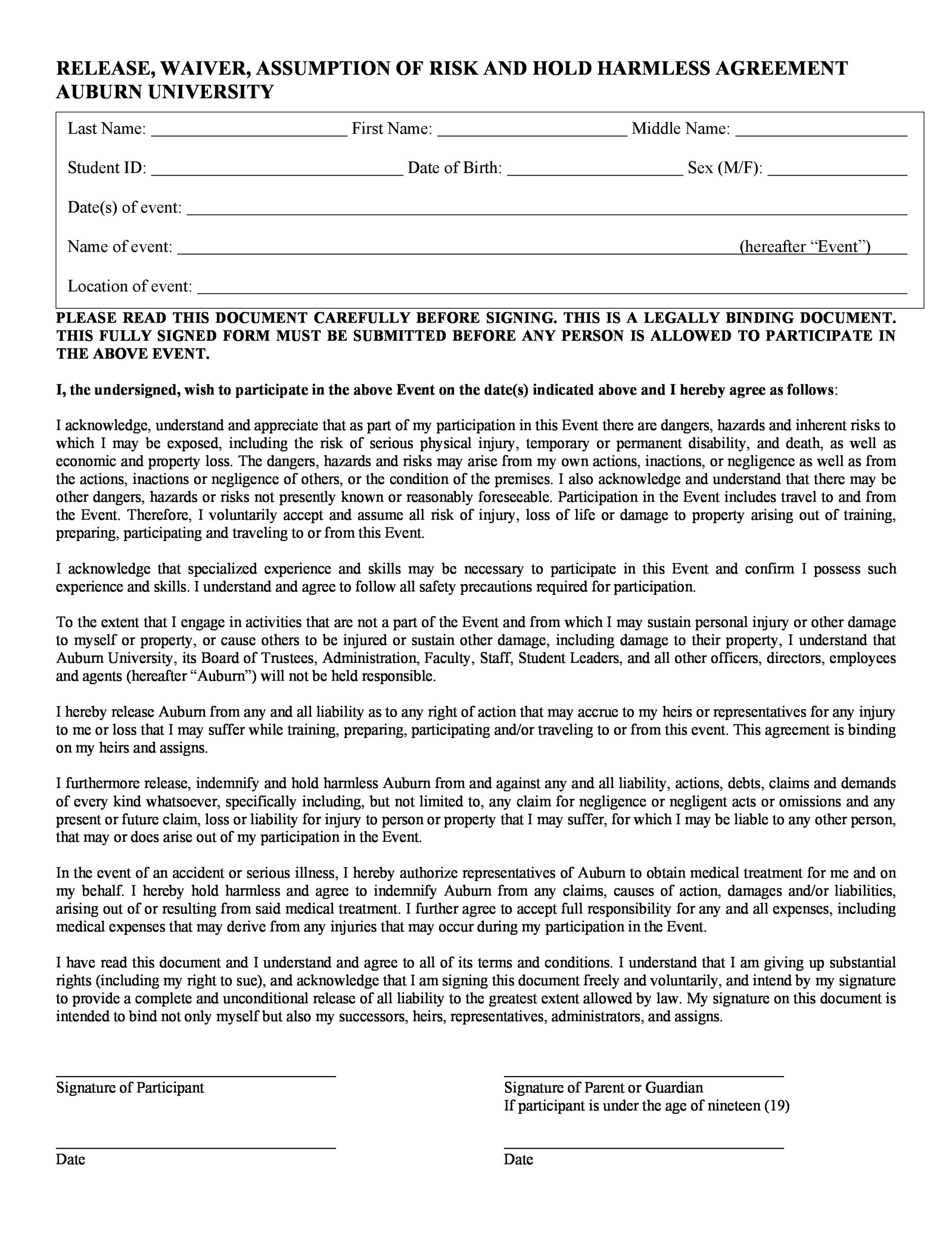 Free Hold Harmless Agreement Template 20