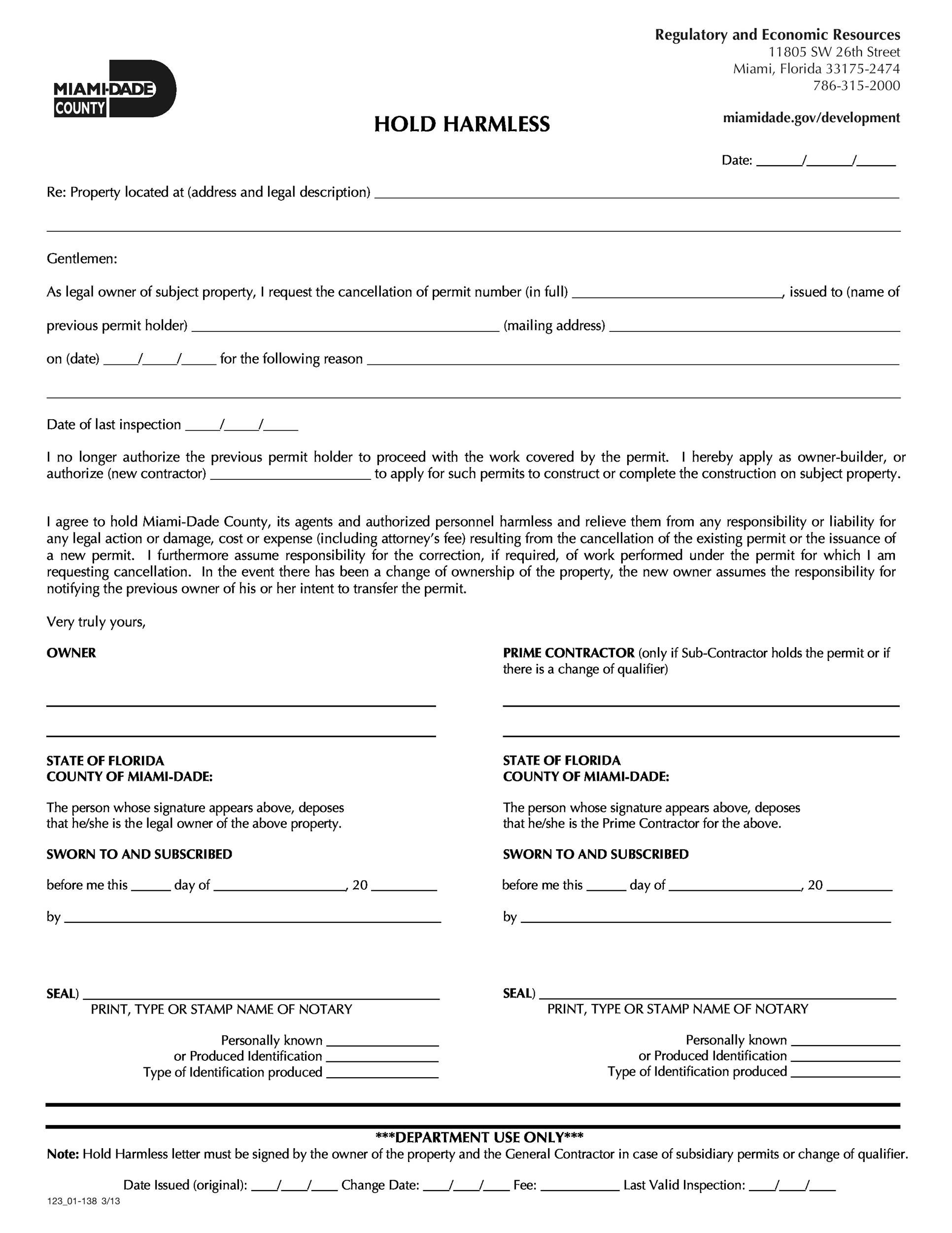 Free Hold Harmless Agreement Template 21